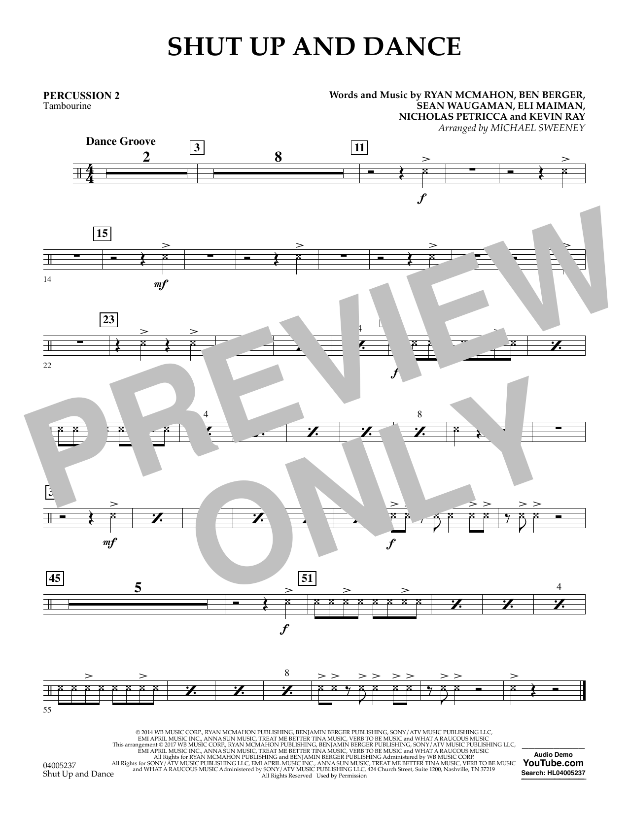 Shut Up and Dance - Percussion 2 (Concert Band)