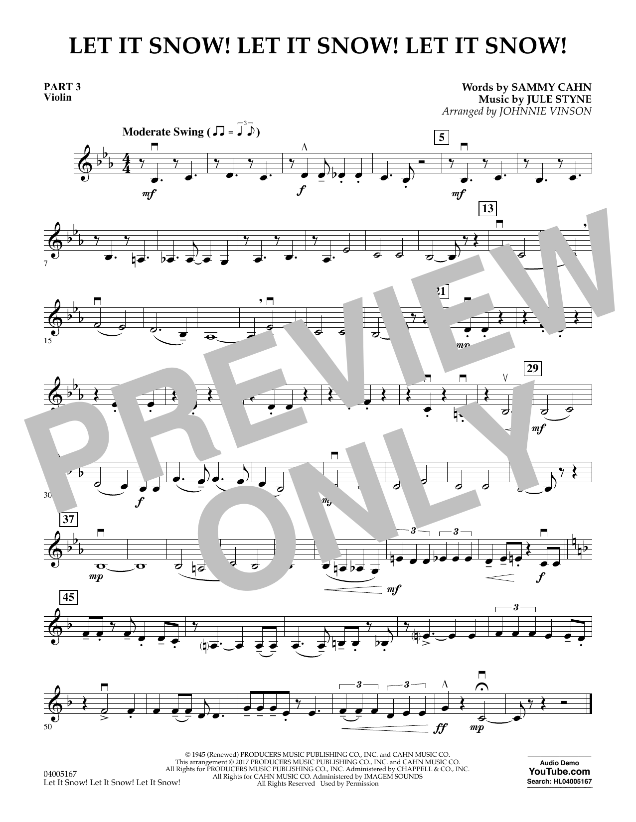 Let It Snow! Let It Snow! Let It Snow! - Pt.3 - Violin (Concert Band)