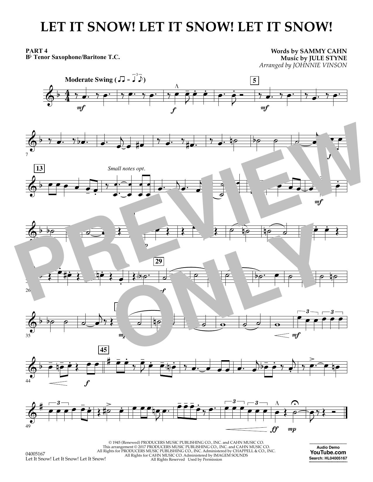Let It Snow! Let It Snow! Let It Snow! - Pt.4 - Bb Tenor Sax/Bar. T.C. (Concert Band)