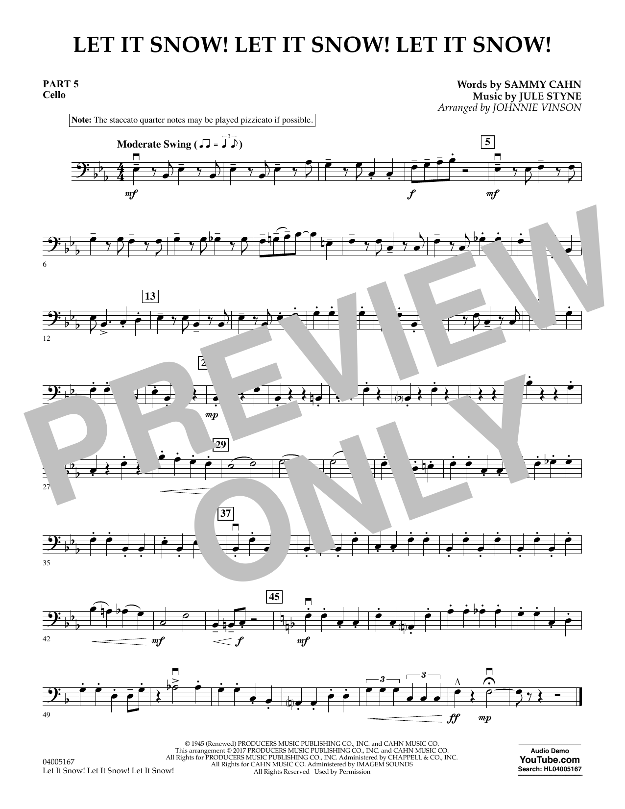 Let It Snow! Let It Snow! Let It Snow! - Pt.5 - Cello (Concert Band)