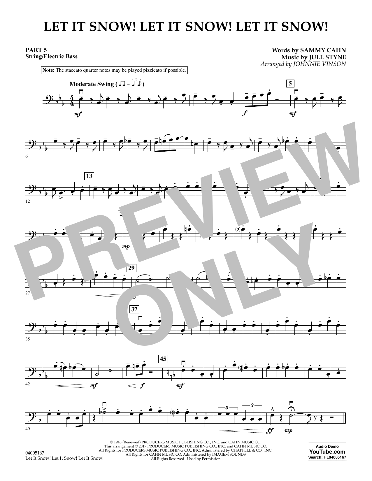 Let It Snow! Let It Snow! Let It Snow! - Pt.5 - String/Electric Bass (Concert Band)