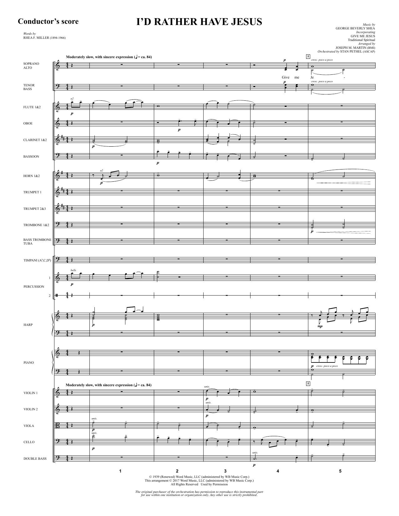 I'd Rather Have Jesus - Full Score (Choir Instrumental Pak)