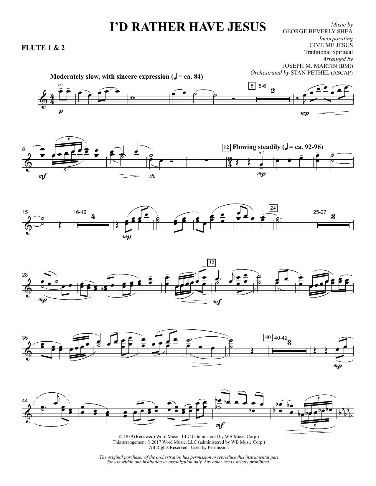 I'd Rather Have Jesus - Flute 1 & 2 (Choir Instrumental Pak)