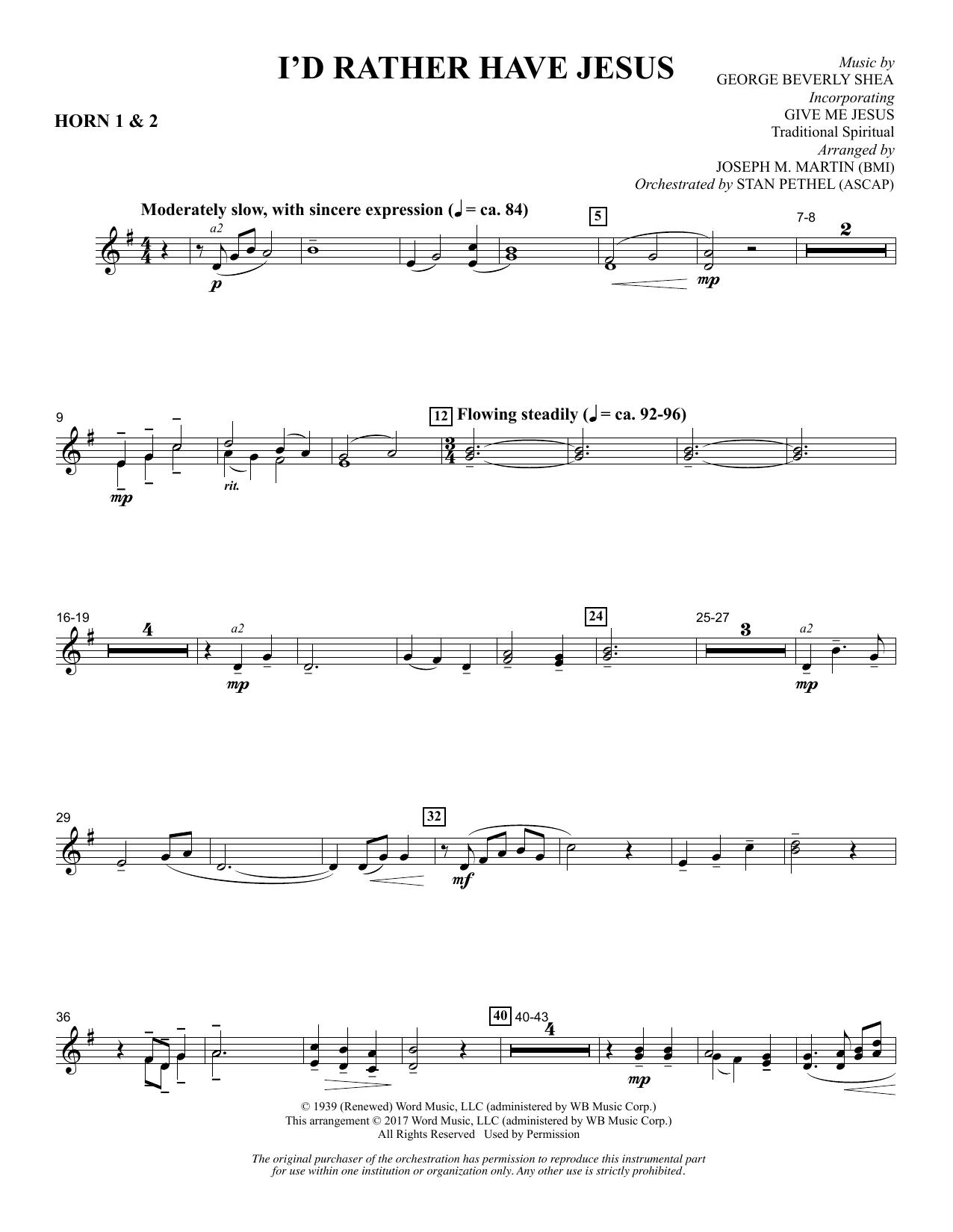 I'd Rather Have Jesus - F Horn 1 & 2 Sheet Music