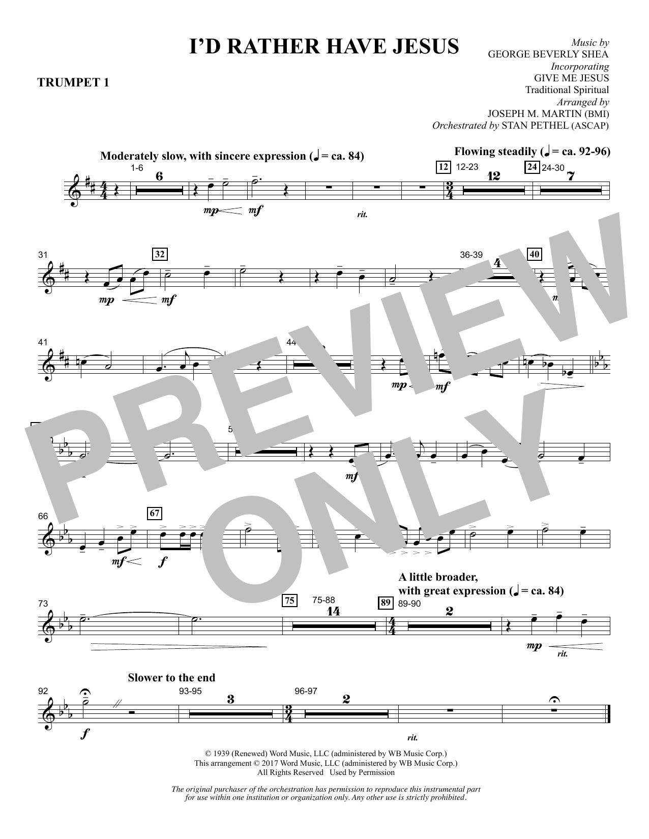 I'd Rather Have Jesus - Bb Trumpet 1 Sheet Music