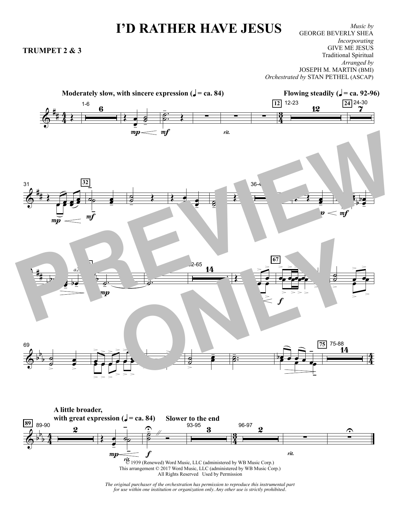 I'd Rather Have Jesus - Bb Trumpet 2,3 Sheet Music