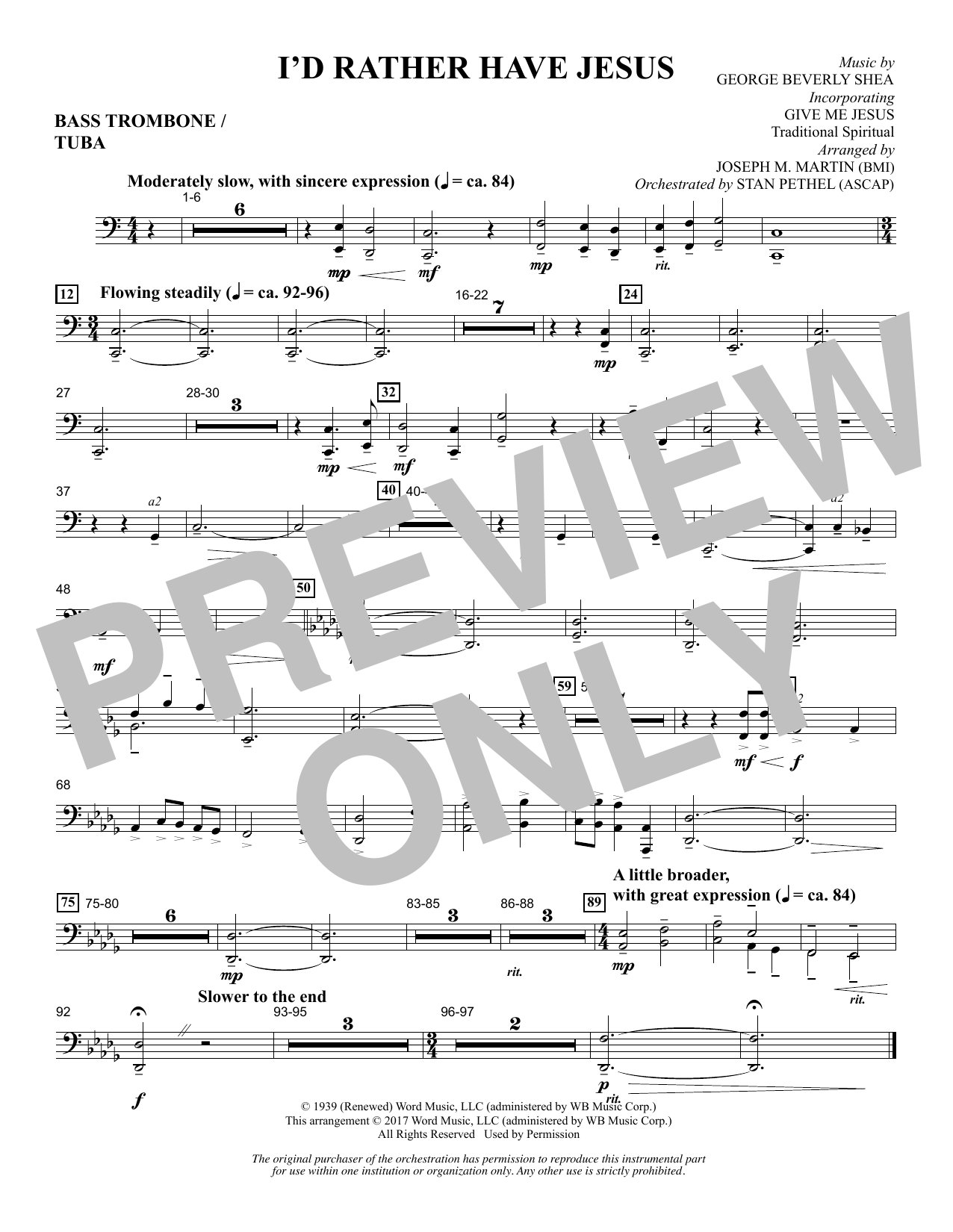 I'd Rather Have Jesus - Bass Trombone/Tuba Sheet Music