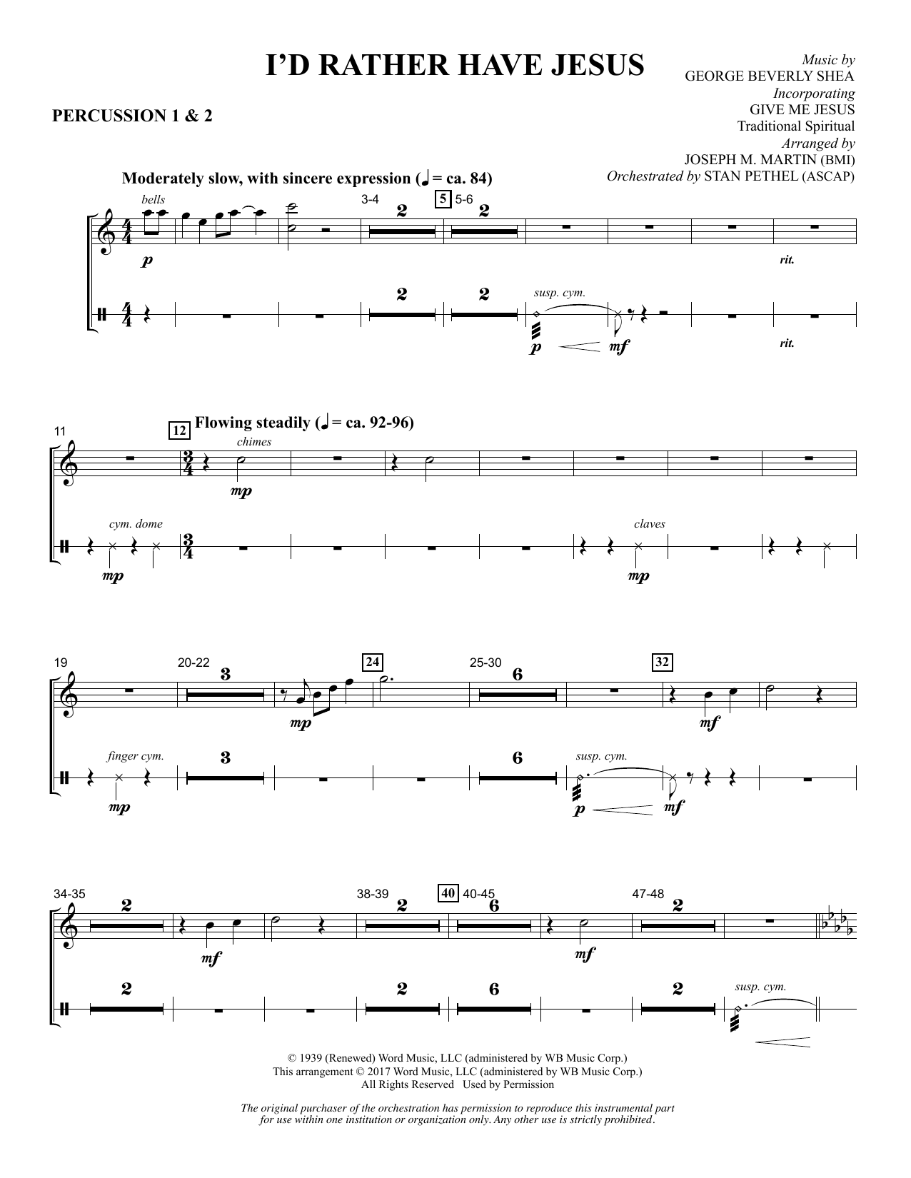 I'd Rather Have Jesus - Percussion 1 & 2 Sheet Music