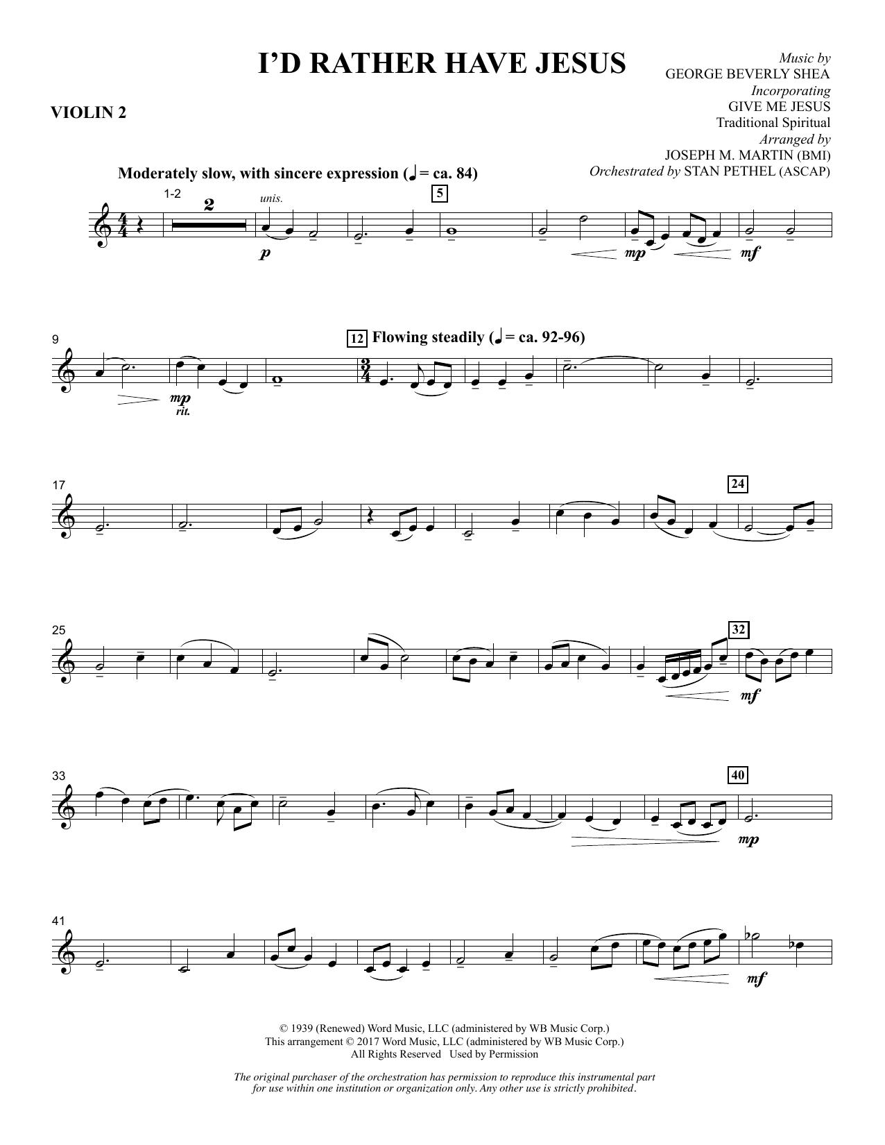 I'd Rather Have Jesus - Violin 2 (Choir Instrumental Pak)