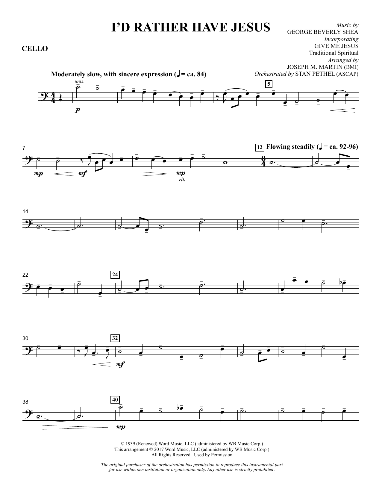 I'd Rather Have Jesus - Cello Sheet Music