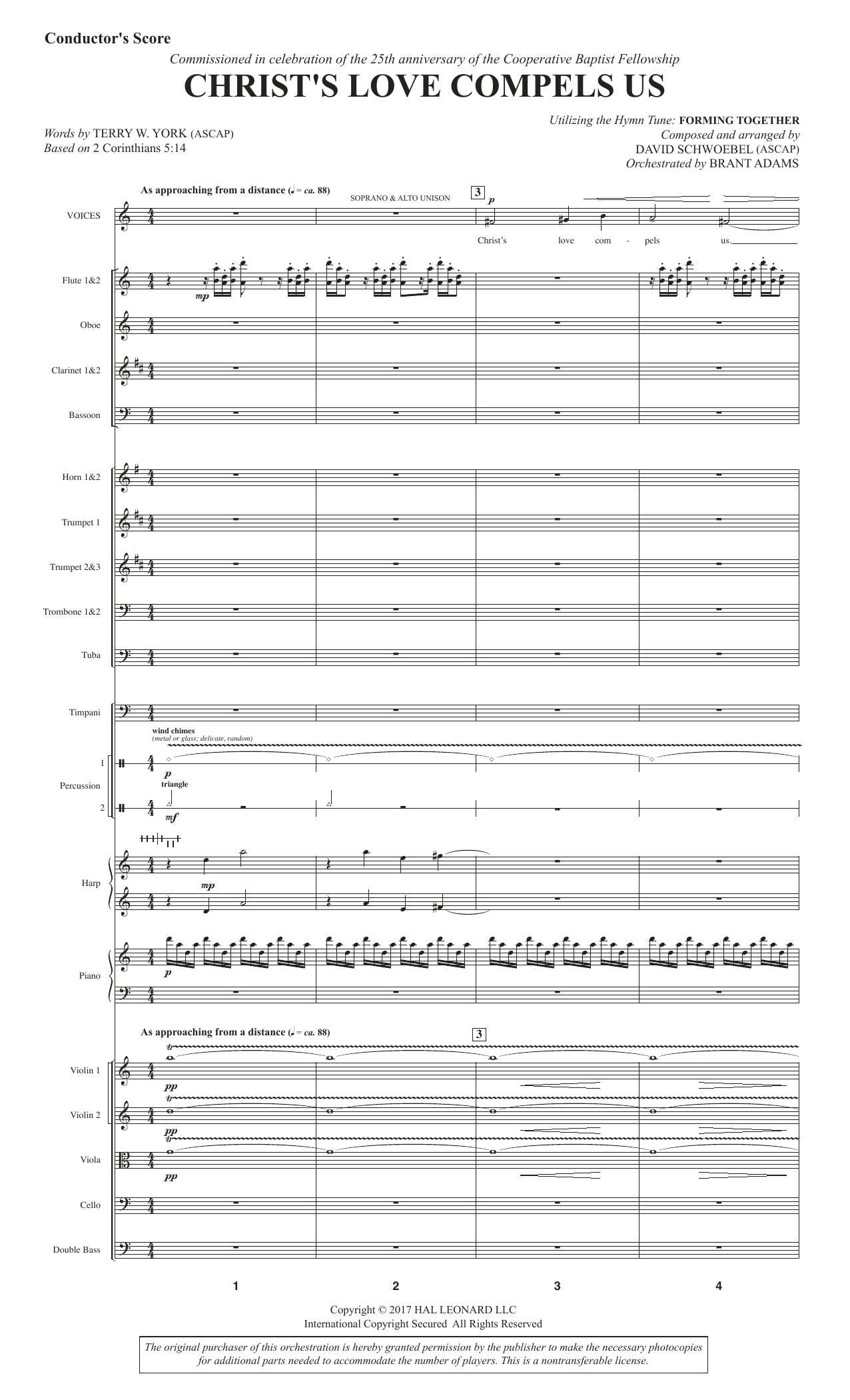 Christ's Love Compels Us (COMPLETE) sheet music for orchestra/band by David Schwoebel. Score Image Preview.