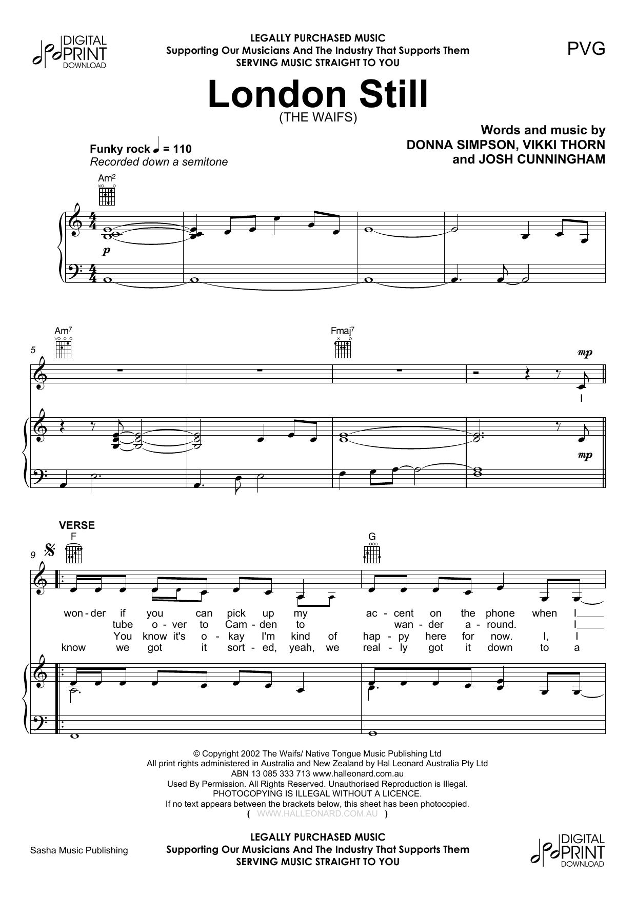 London Still (Piano, Vocal & Guitar (Right-Hand Melody))