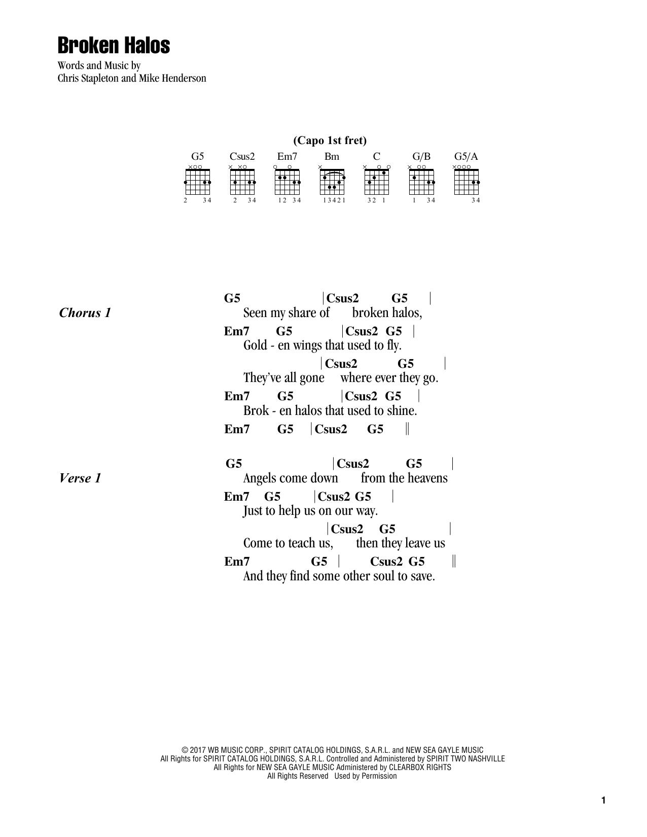 Broken halos sheet music by chris stapleton lyrics chords 186317 broken halos sheet music hexwebz Images
