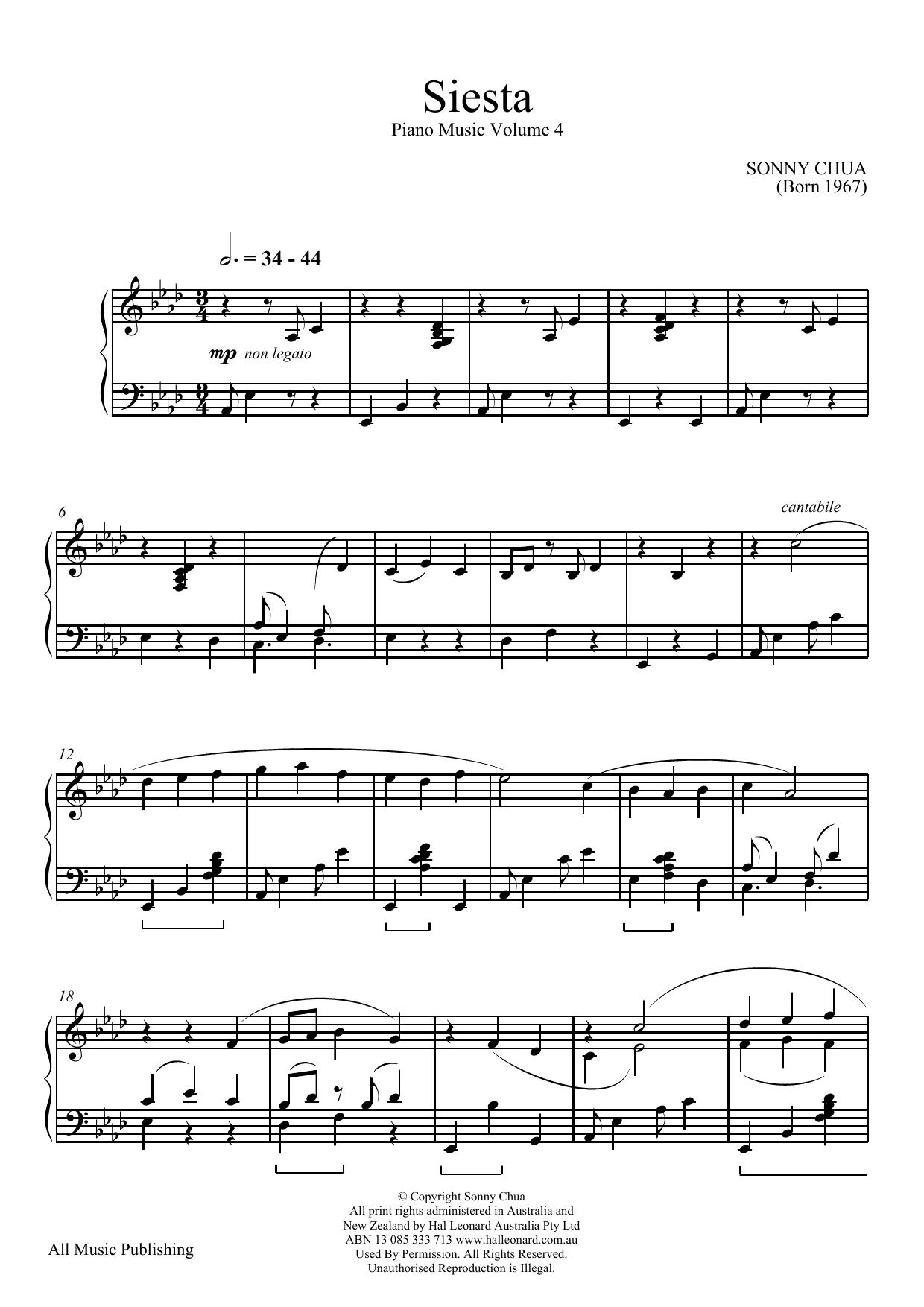 Siesta  (From Piano Music Vol 4) (Piano Solo)