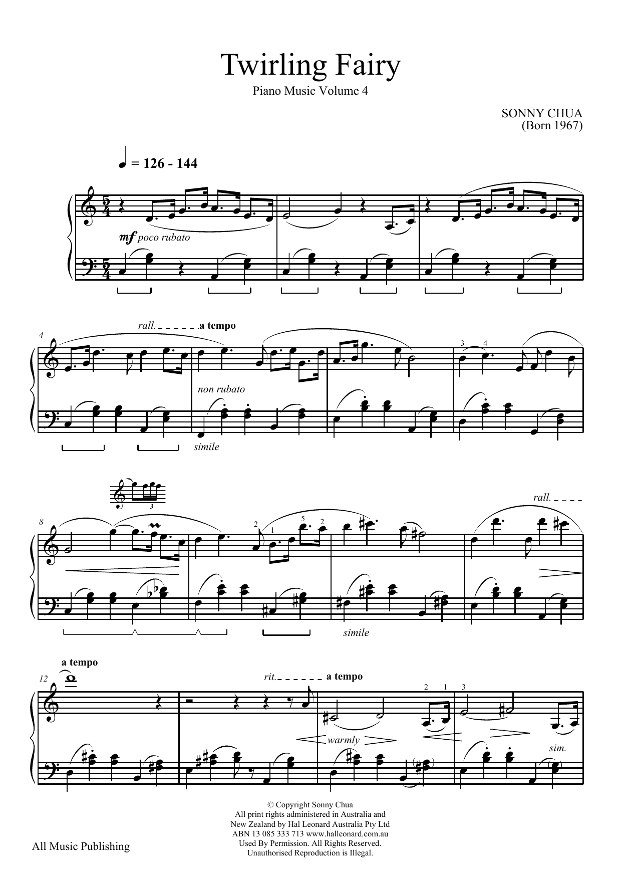 Twirling Fairy (From Piano Music Vol 4) (Piano Solo)
