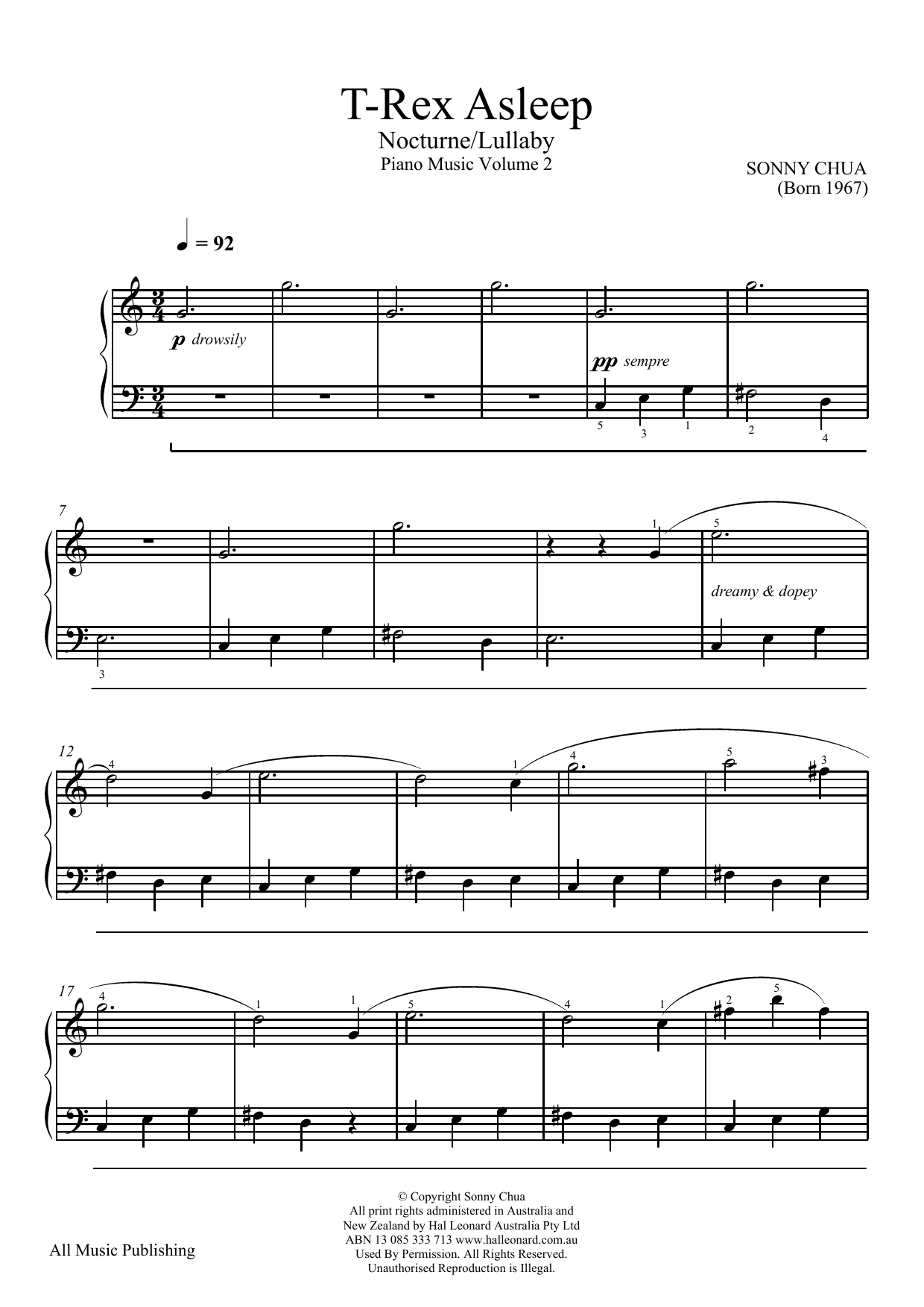 T-Rex Asleep (From Piano Music Vol 2) (Piano Solo)