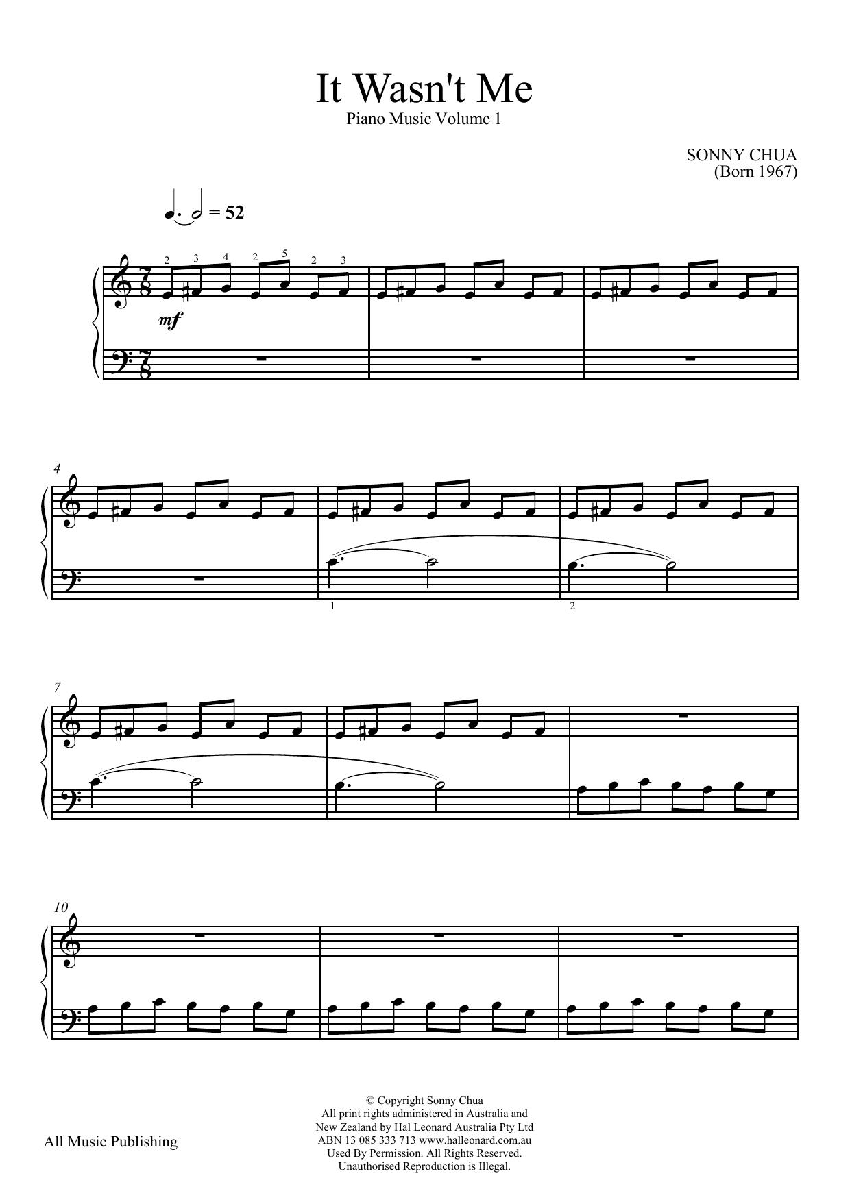 Partition piano It Wasn't Me (From Piano Music Vol 1) de Sonny Chua - Piano Solo