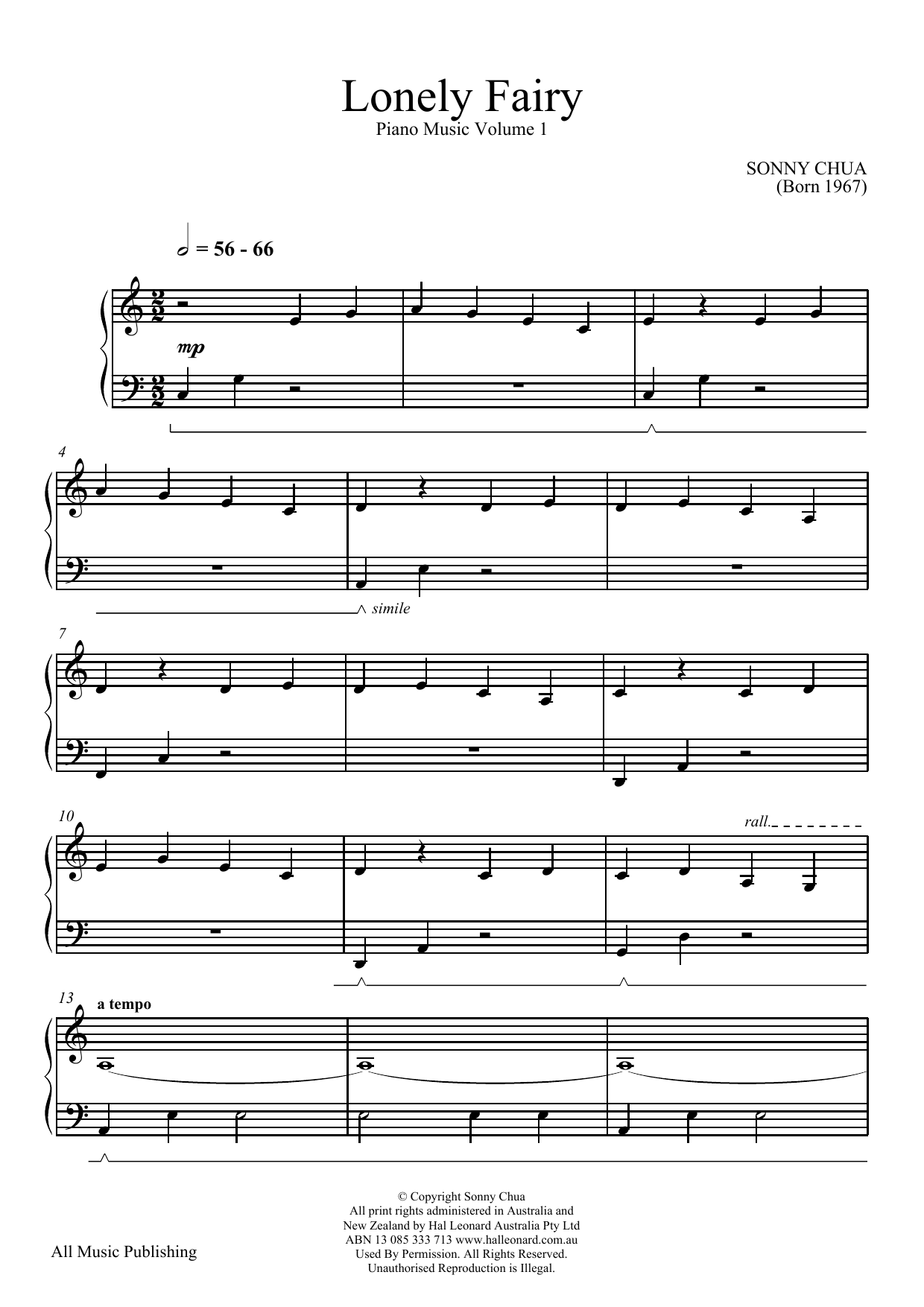 Lonely Fairy (From Piano Music Vol 1) Sheet Music