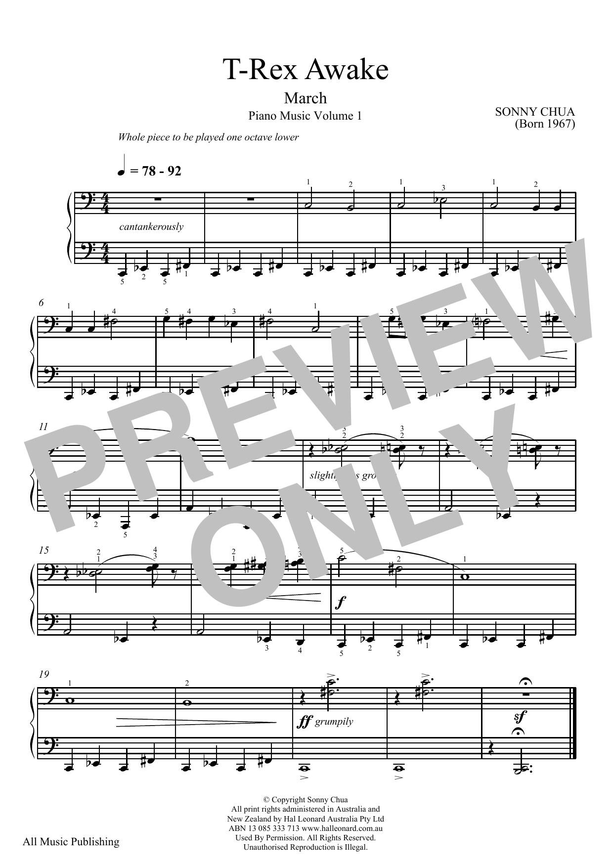 Partition piano T-Rex Awake (From Piano Music Vol 1) de Sonny Chua - Piano Solo