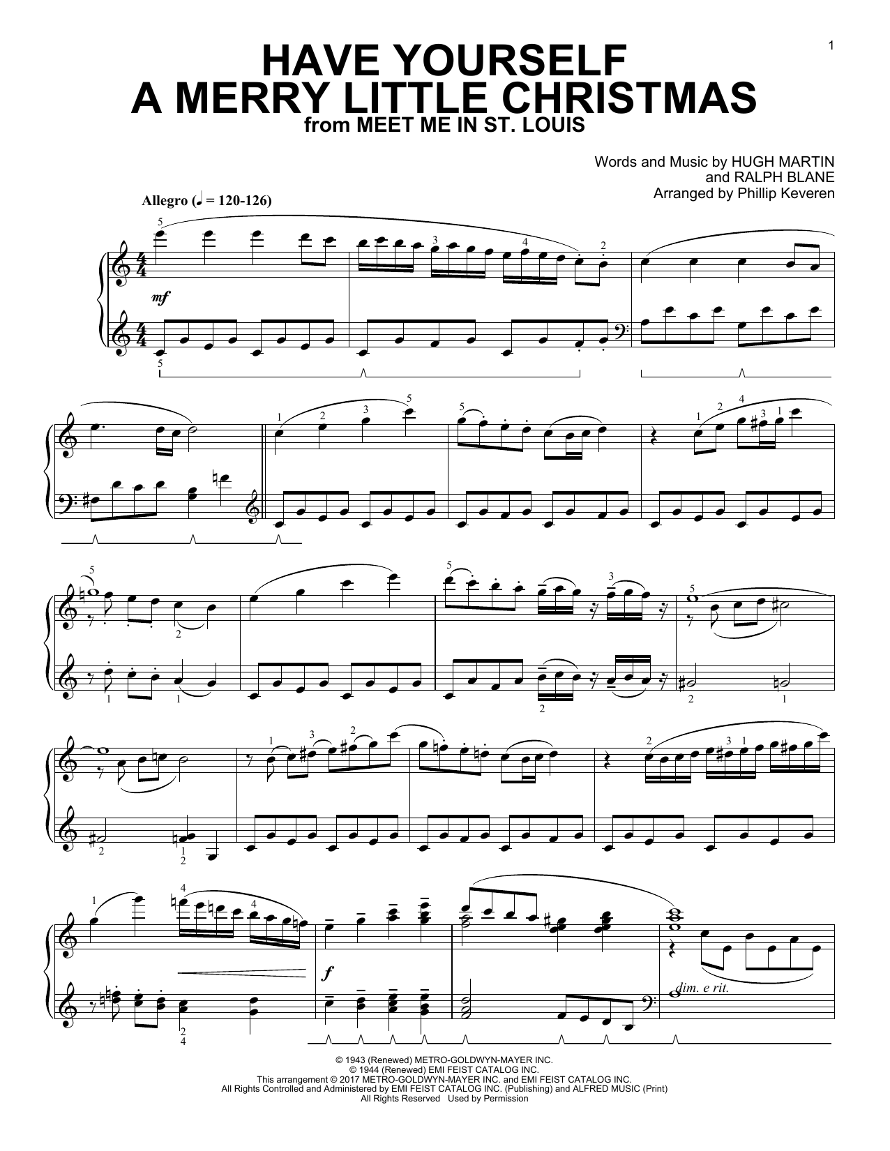 Have Yourself A Merry Little Christmas [Classical version] (arr. Phillip Keveren) (Piano Solo)
