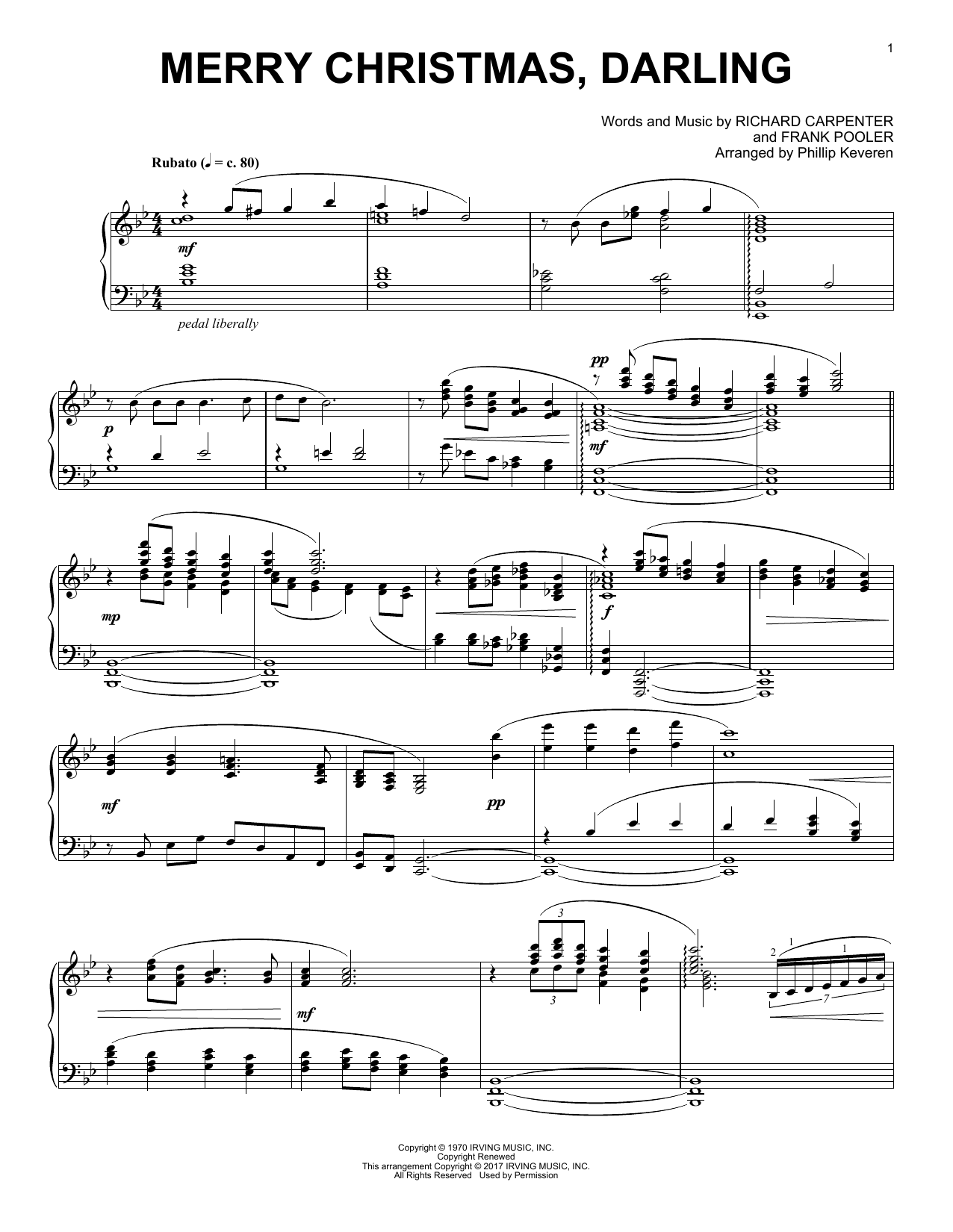 Merry Christmas, Darling [Classical version] (arr. Phillip Keveren) (Piano Solo)