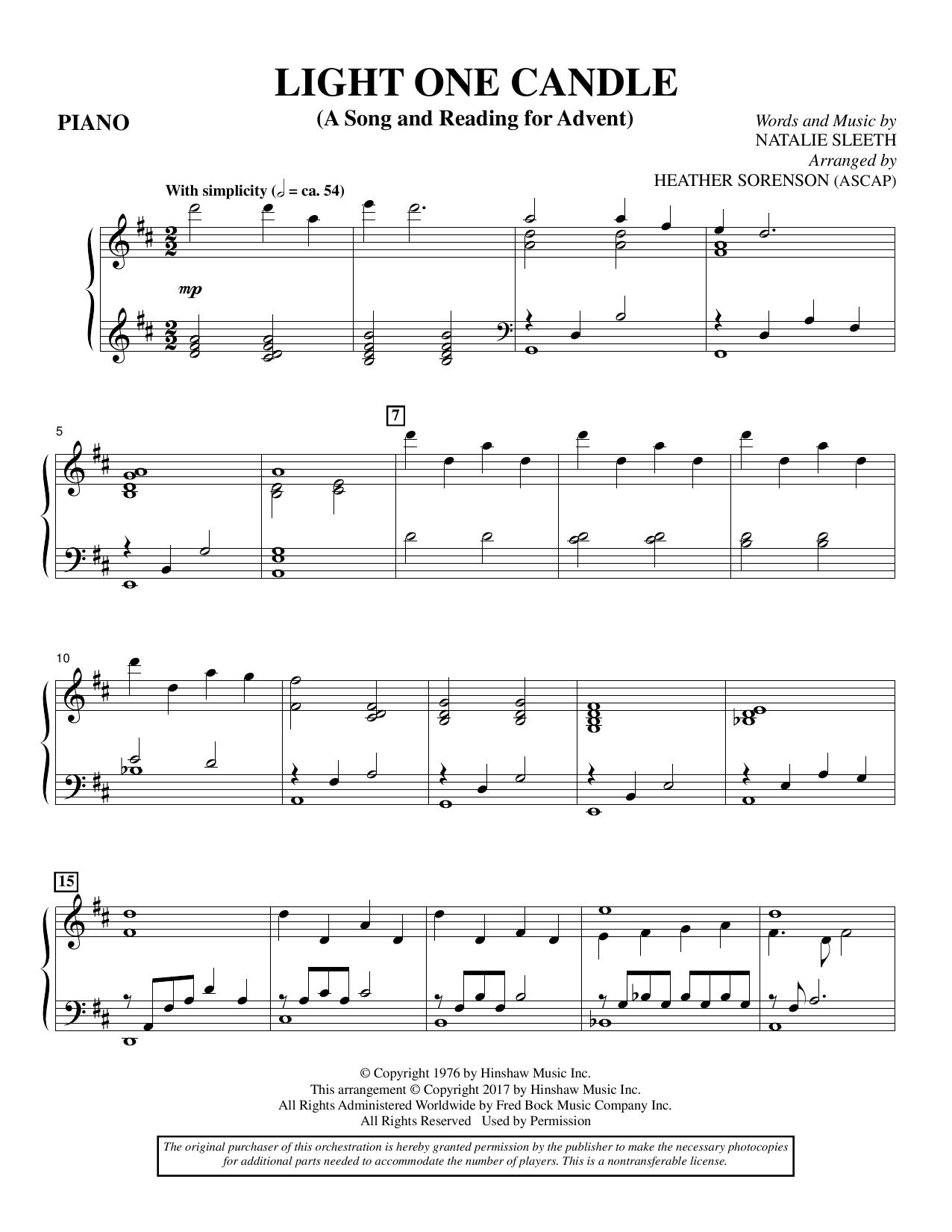 Light One Candle - Piano (Choir Instrumental Pak)