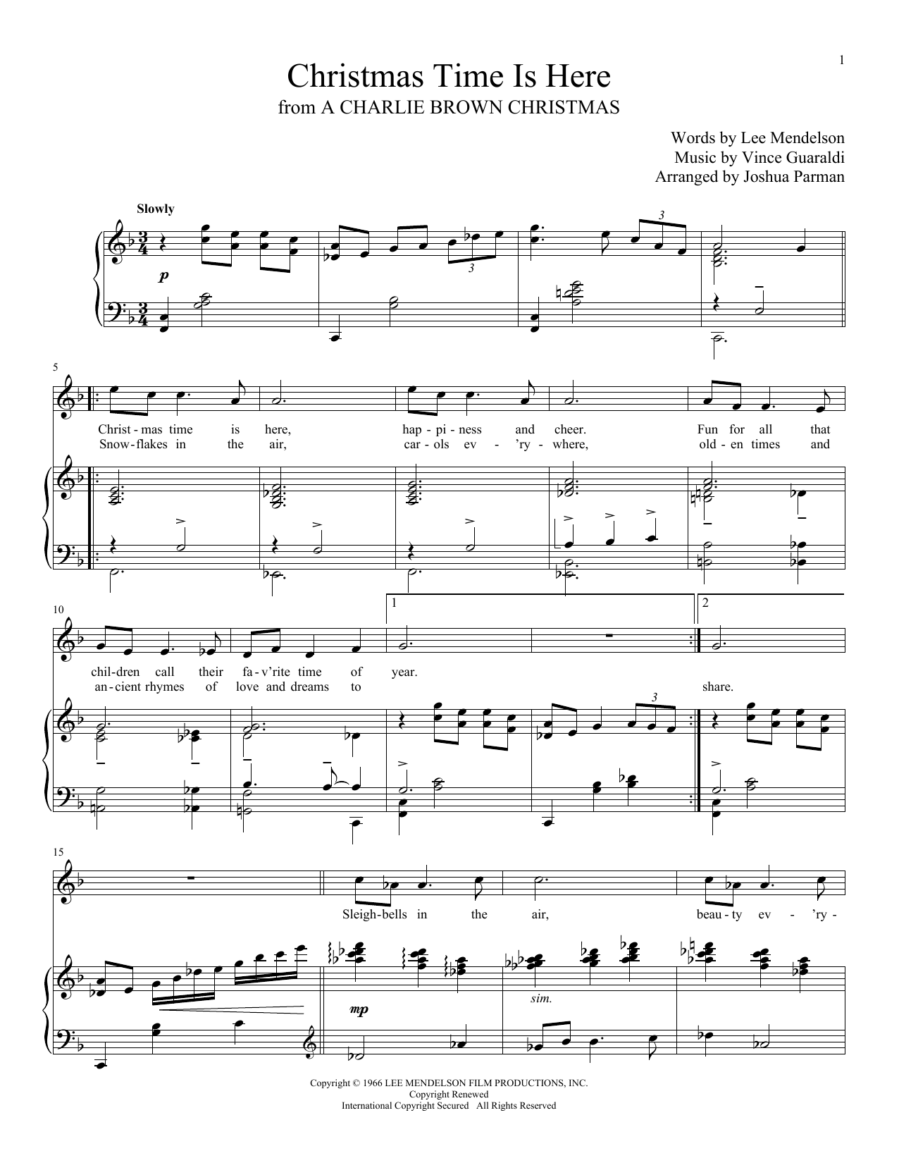 page one of christmas time is hereasalttext - Christmas Time Is Here Sheet Music