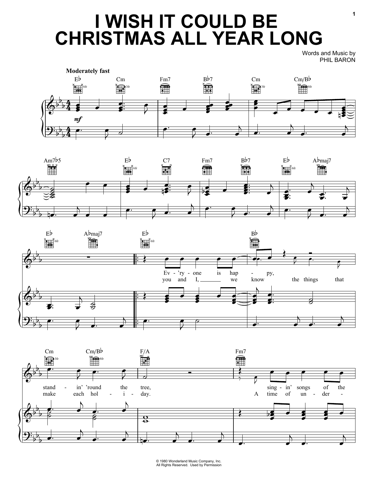 I Wish It Could Be Christmas All Year Long (Piano, Vocal & Guitar (Right-Hand Melody))