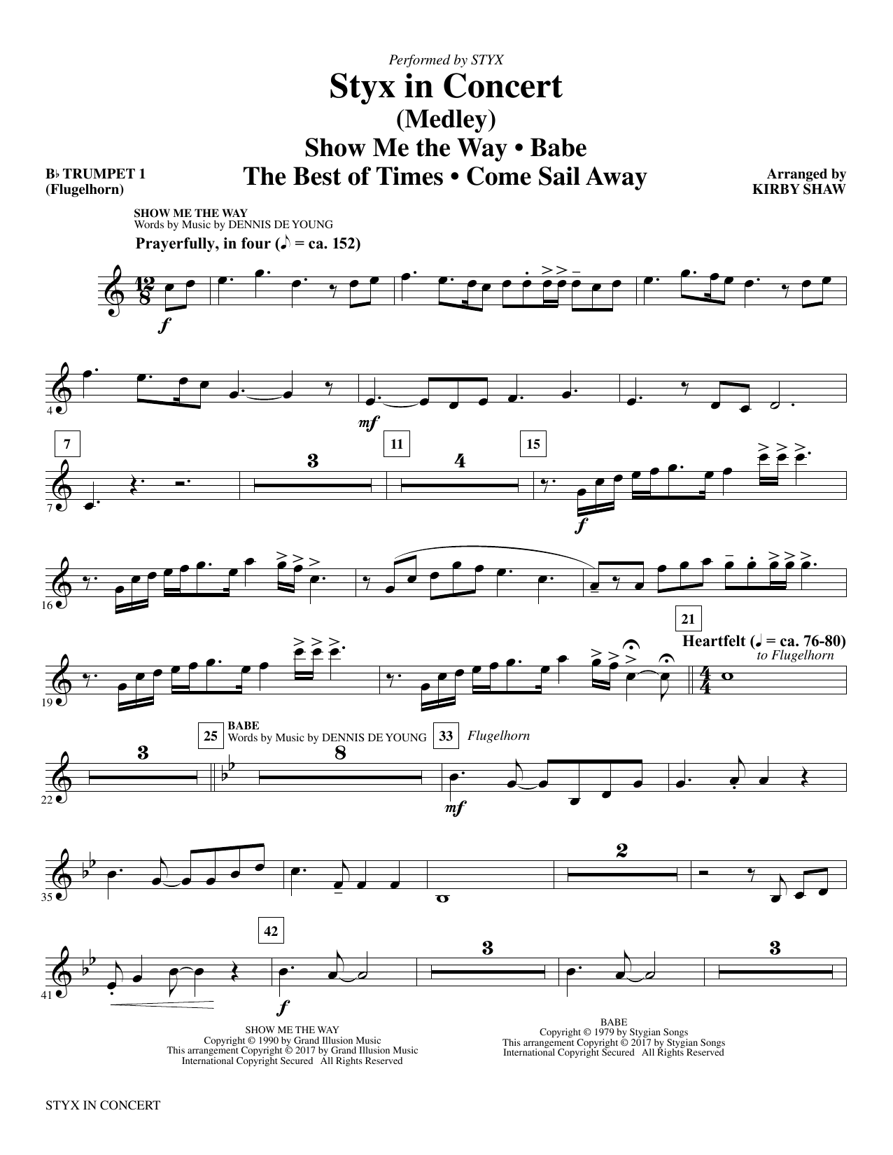 Styx in Concert (complete set of parts) sheet music for orchestra/band by Kirby Shaw, Dennis DeYoung and Styx. Score Image Preview.