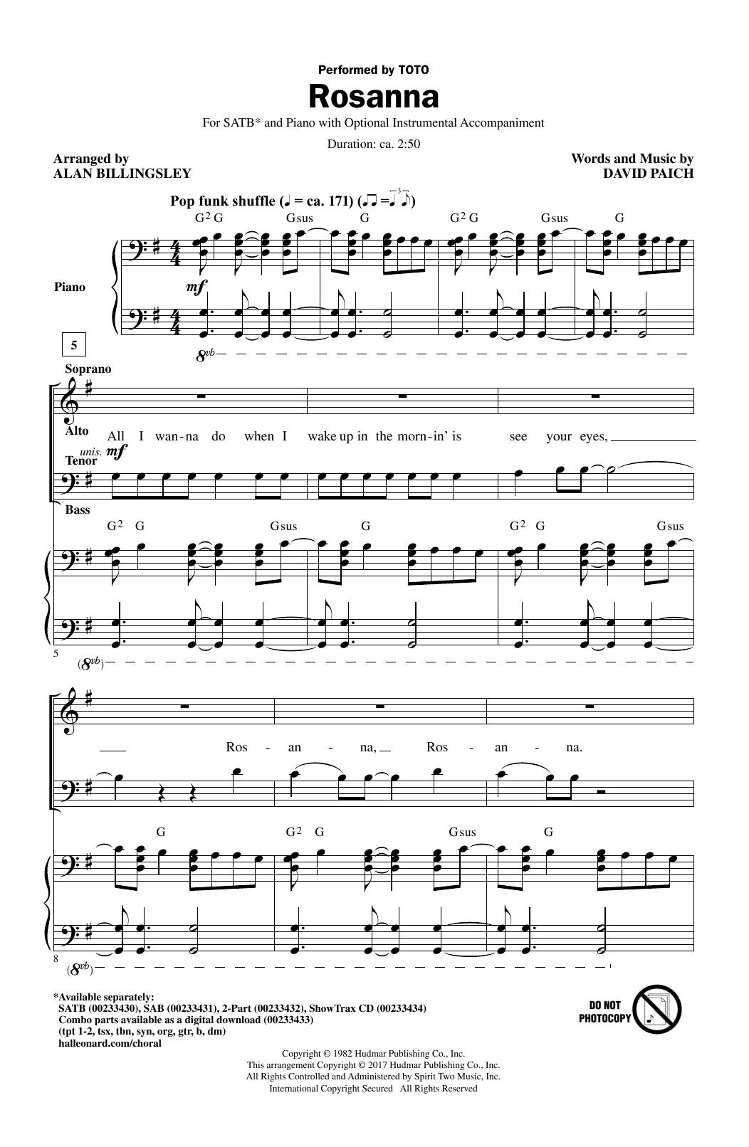 Rosanna (SATB Choir)