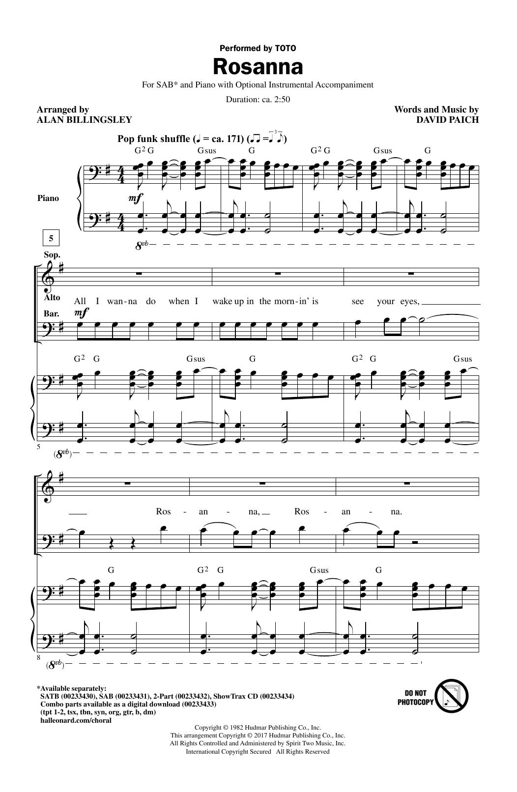Rosanna (SAB Choir)