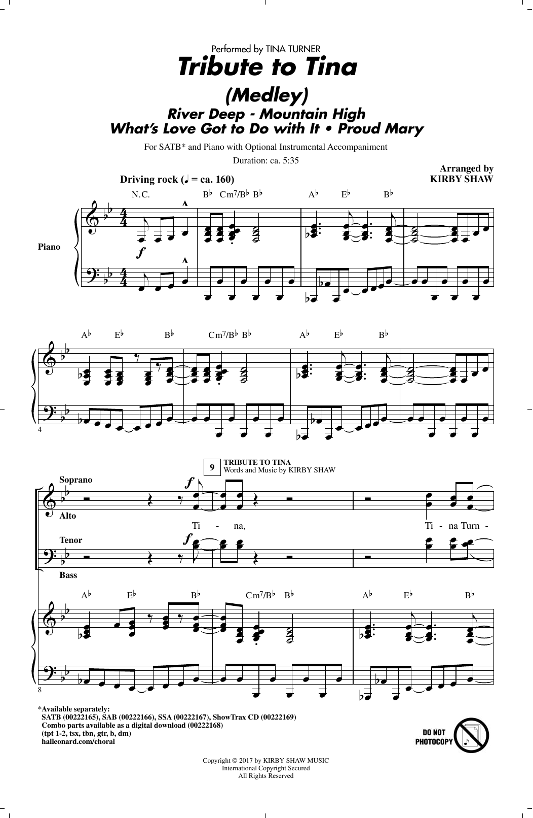 Tribute to Tina (SATB Choir)