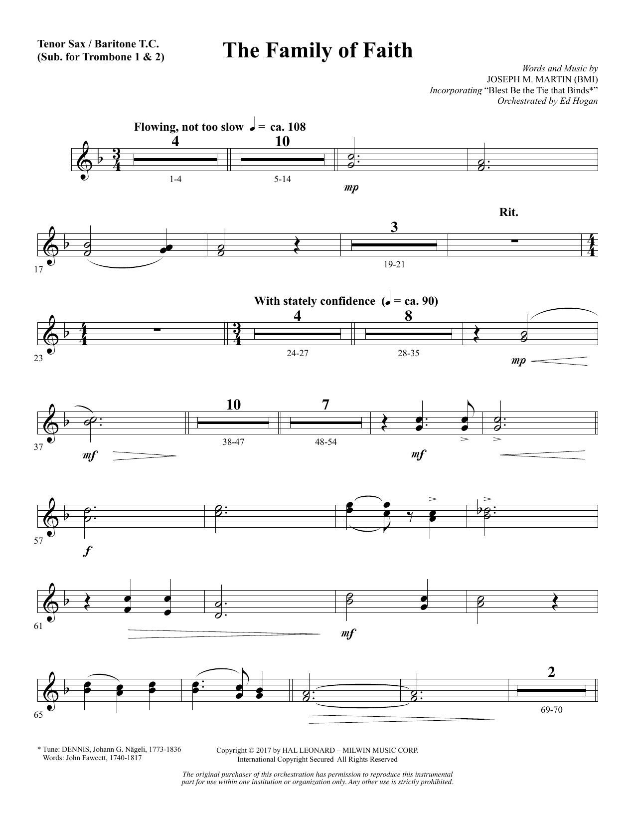 The Family of Faith - Tenor Sax/BariTC (sub Tbn 1-2) (Choir Instrumental Pak)