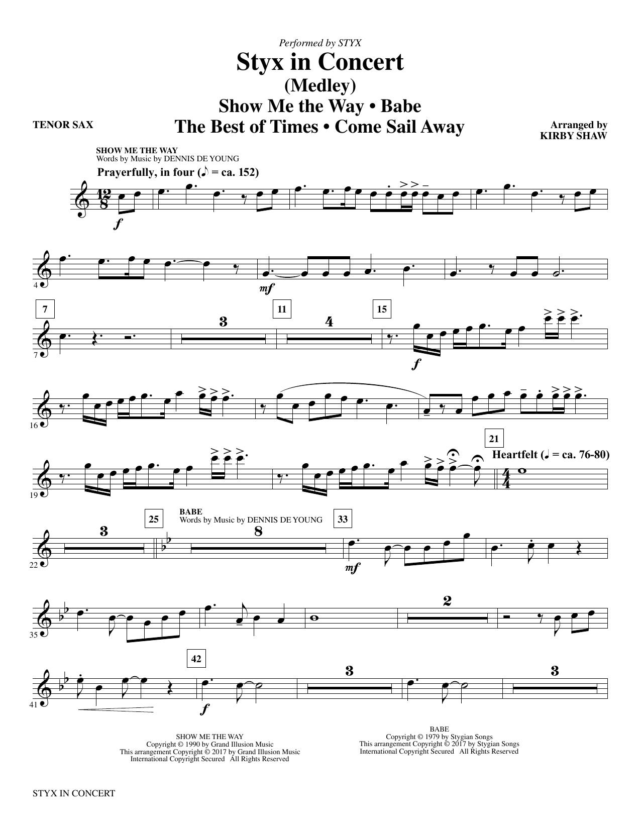 Styx in Concert - Bb Tenor Saxophone (Choir Instrumental Pak)