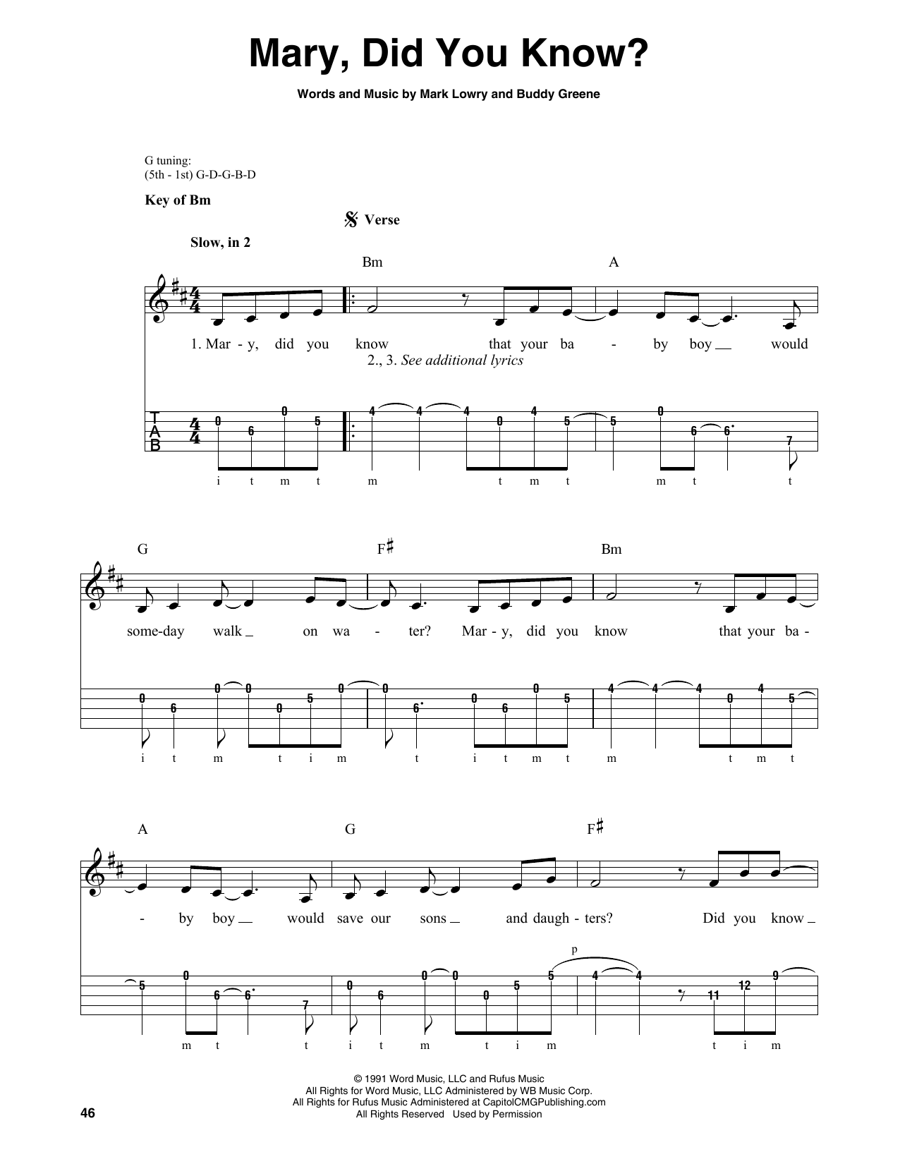 Mary, Did You Know? (Banjo Tab)
