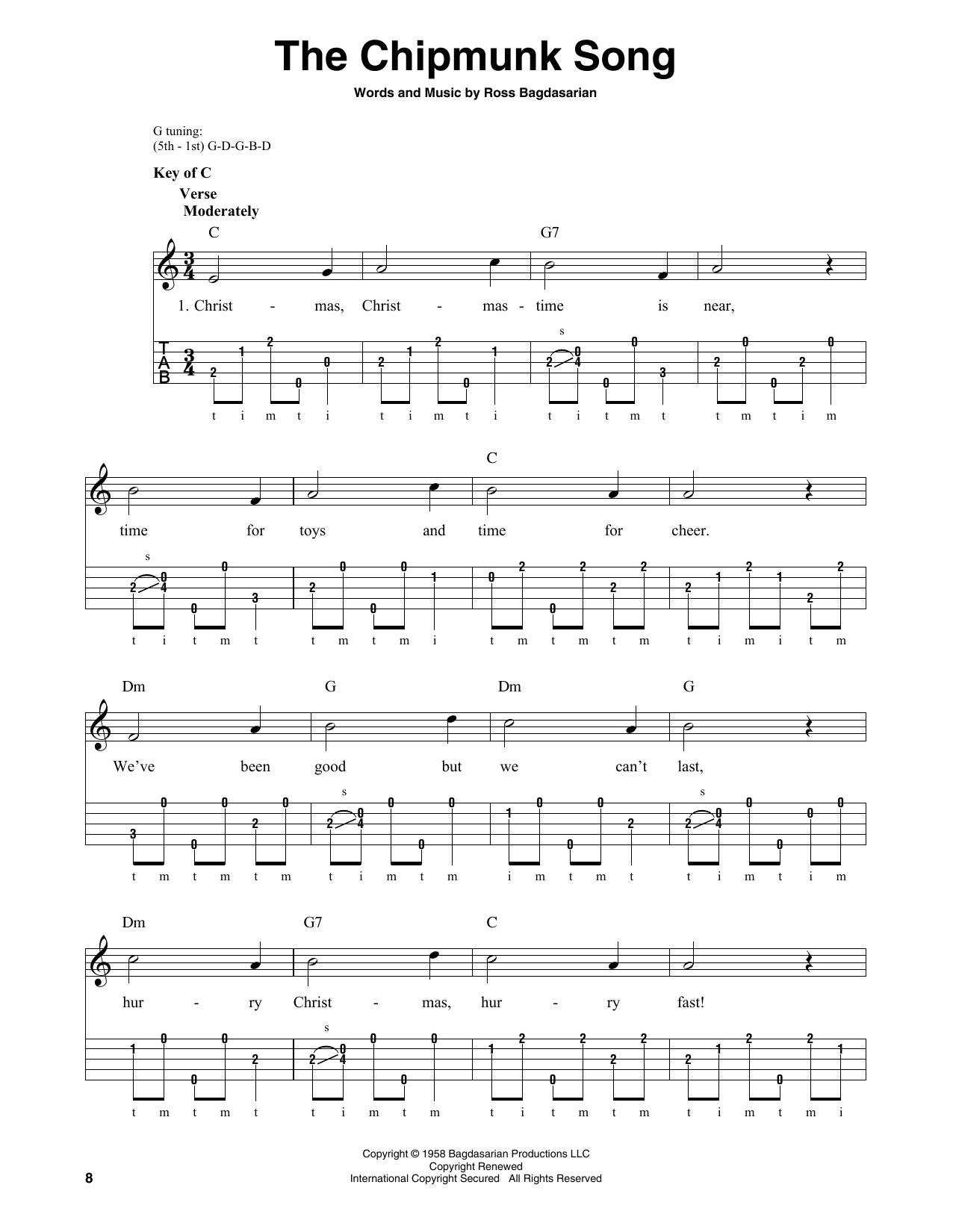 The Chipmunk Song (Banjo Tab)