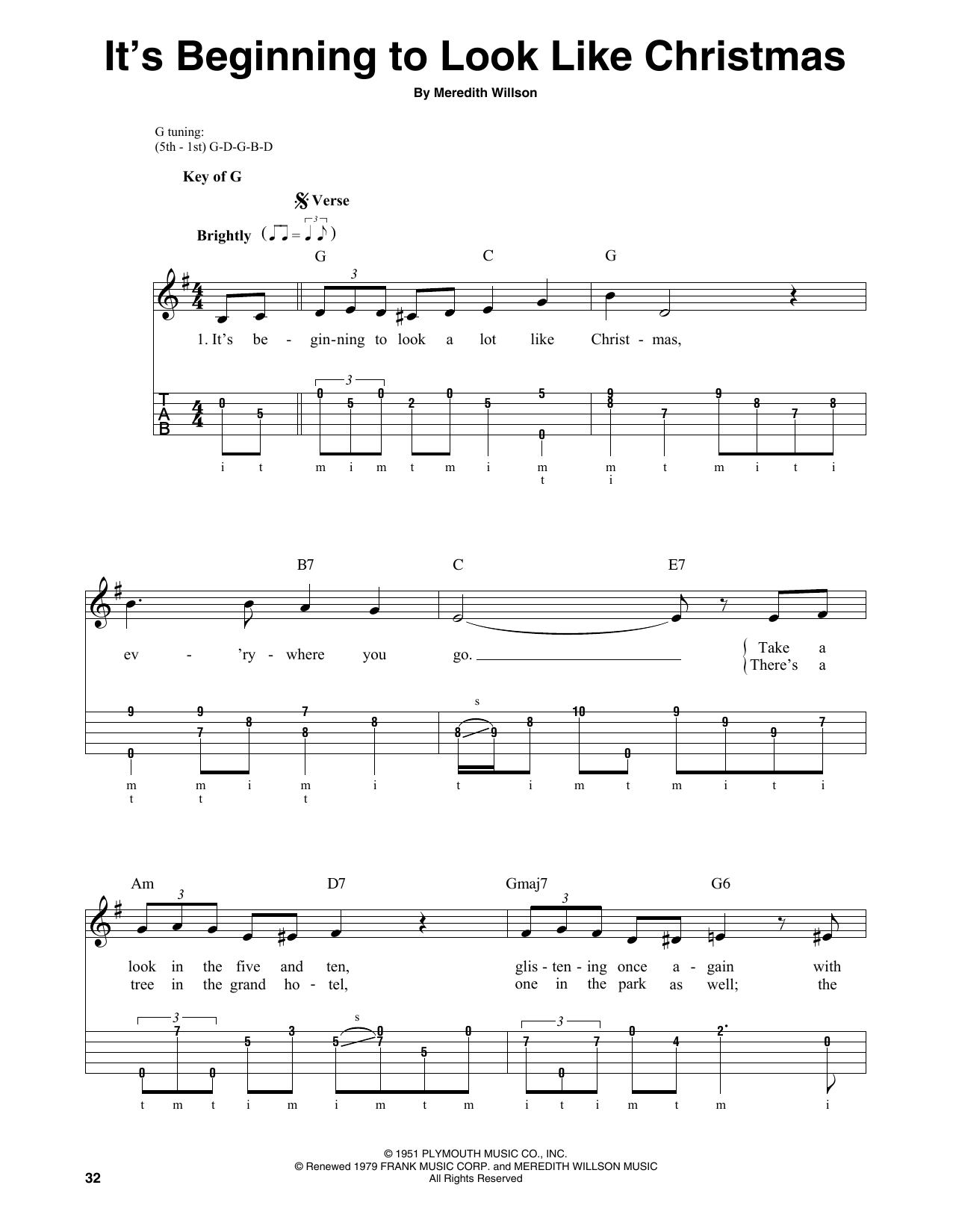 It's Beginning To Look Like Christmas (Banjo Tab)