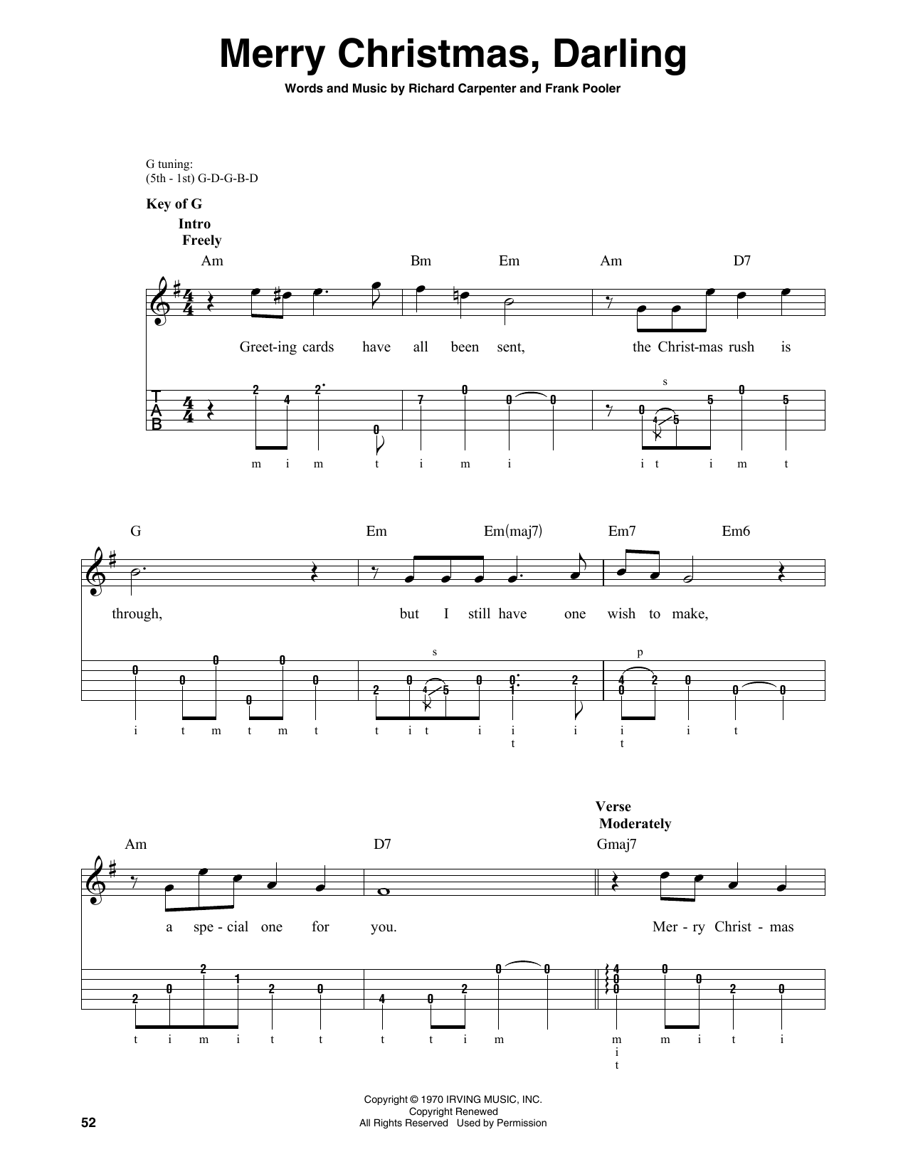 Merry Christmas, Darling (Banjo Tab)