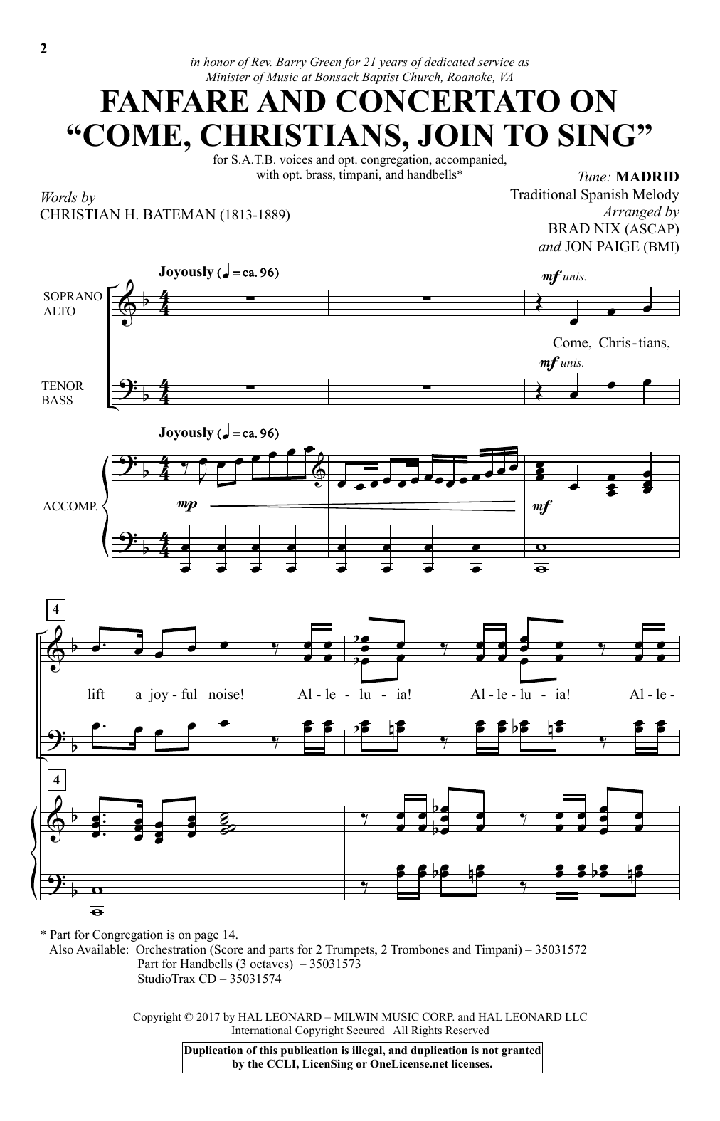 "Fanfare And Concertato On ""Come Christians, Join To Sing"" Sheet Music"