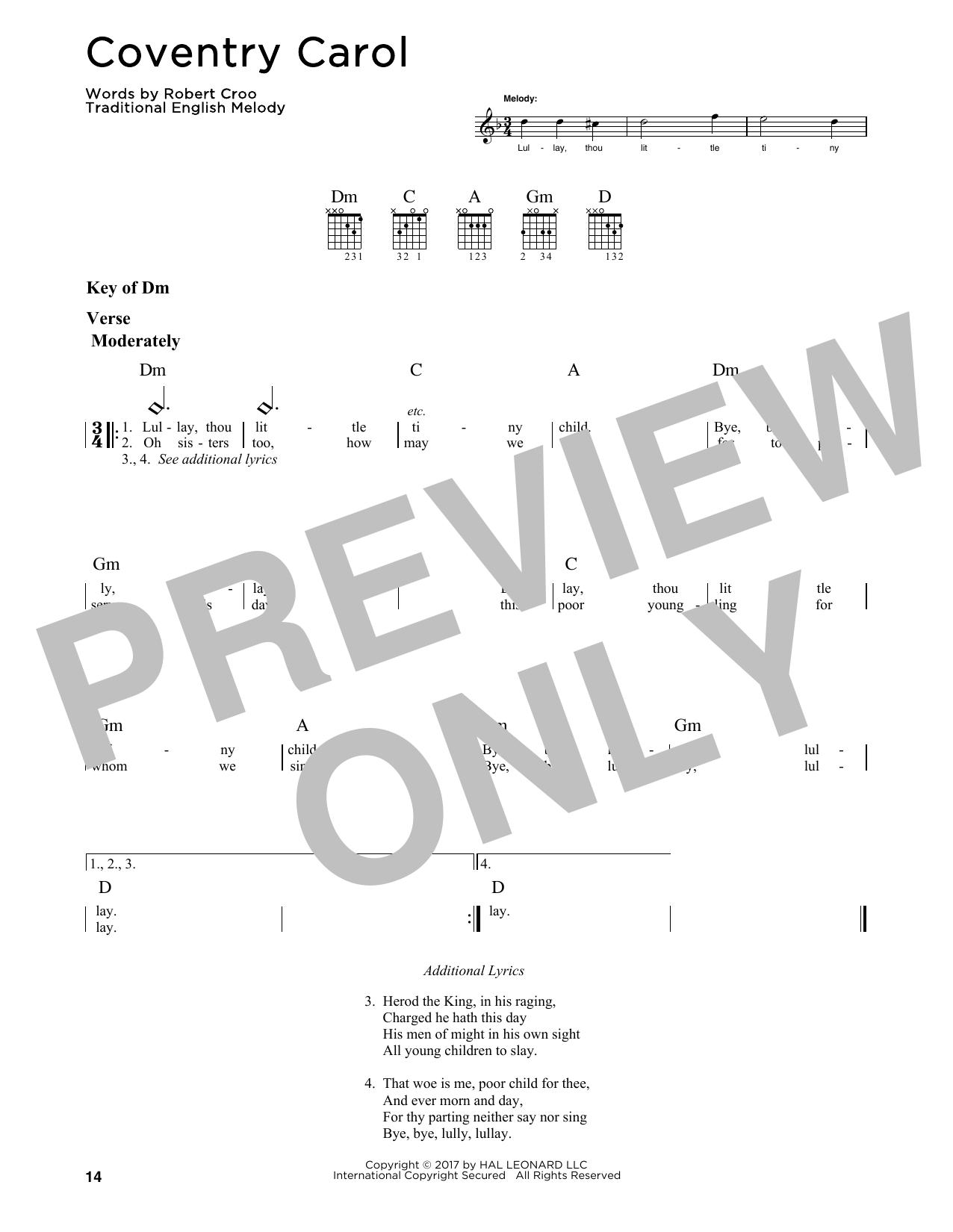 Coventry Carol (Guitar Lead Sheet)