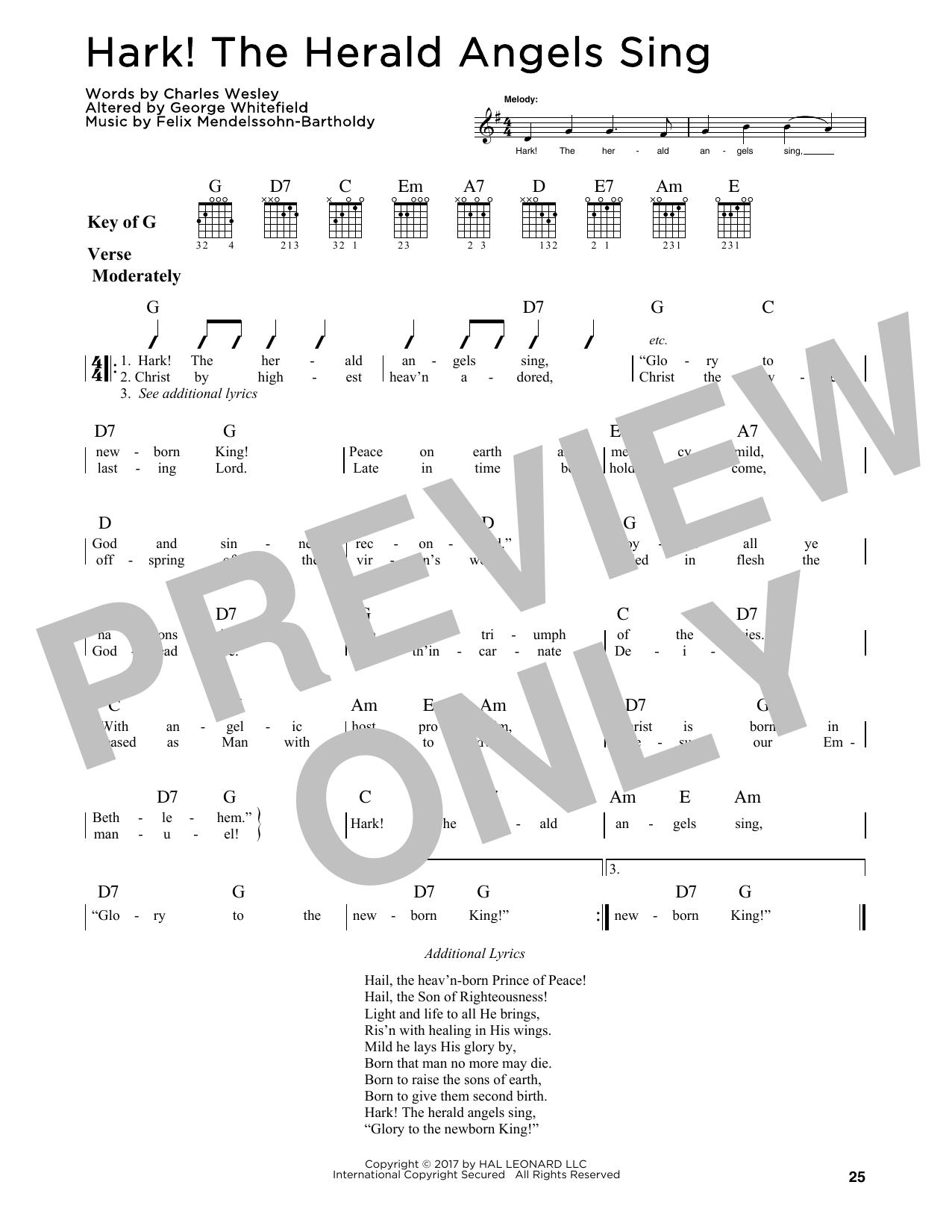 Hark! The Herald Angels Sing (Guitar Lead Sheet)