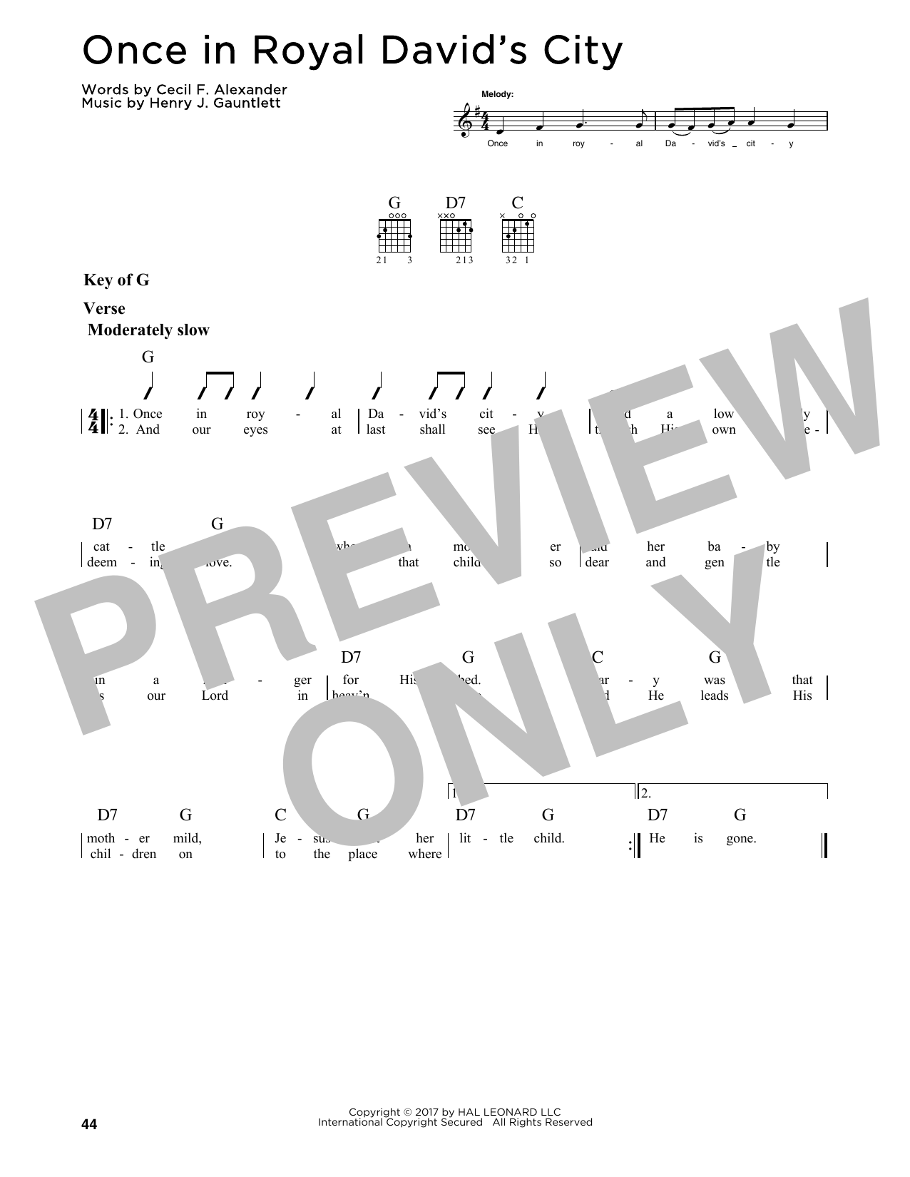 Once In Royal David's City (Guitar Lead Sheet)