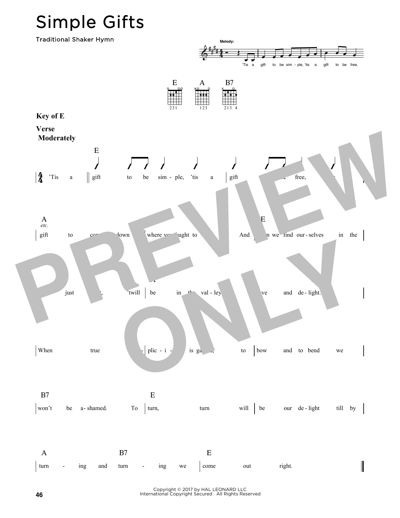 Simple Gifts (Guitar Lead Sheet)