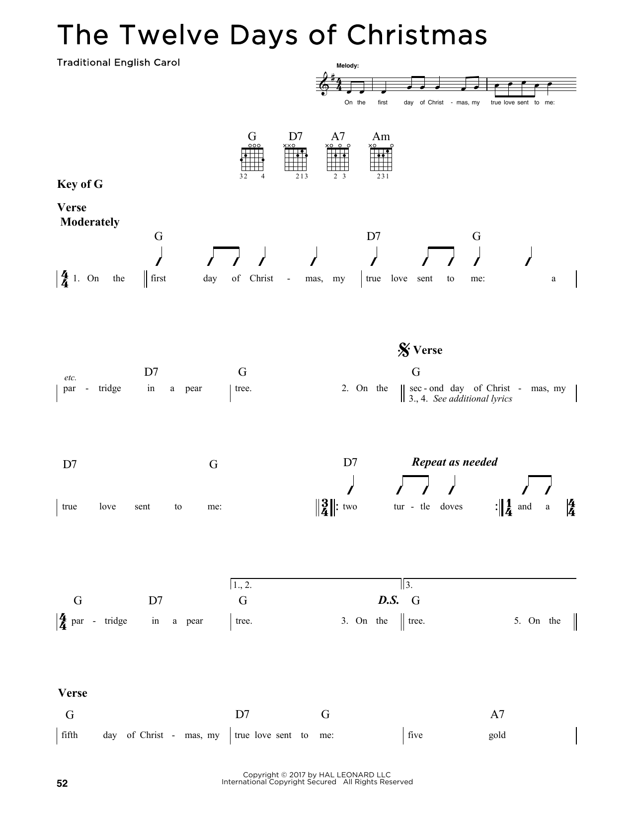 The Twelve Days Of Christmas (Guitar Lead Sheet)