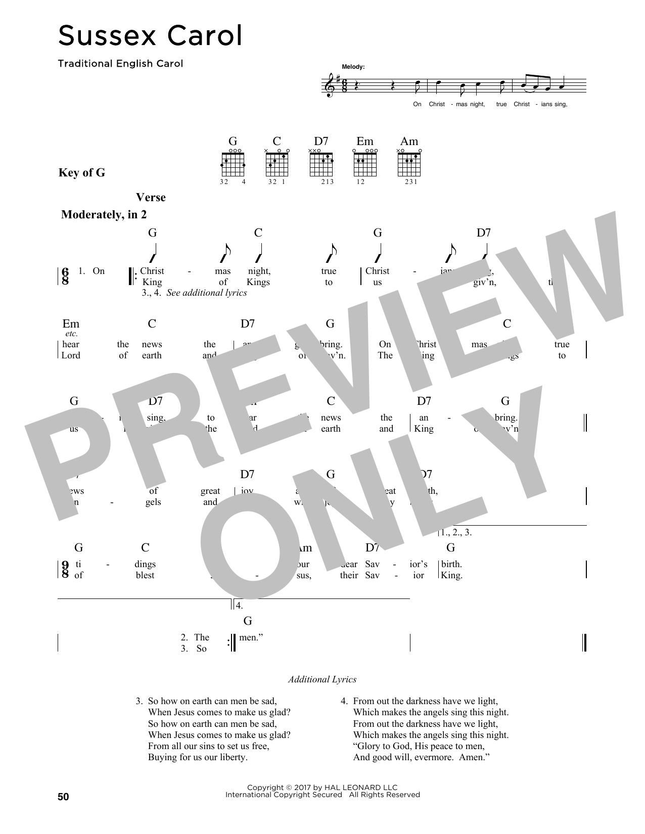 Sussex Carol (Guitar Lead Sheet)