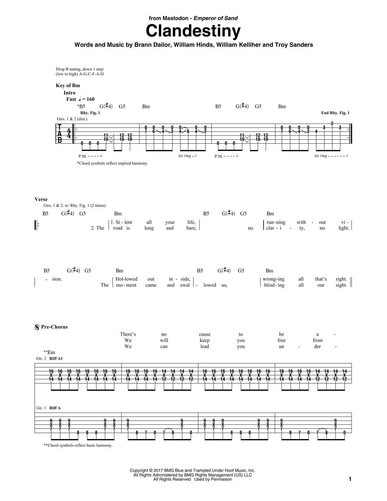 Clandestiny (Guitar Tab)