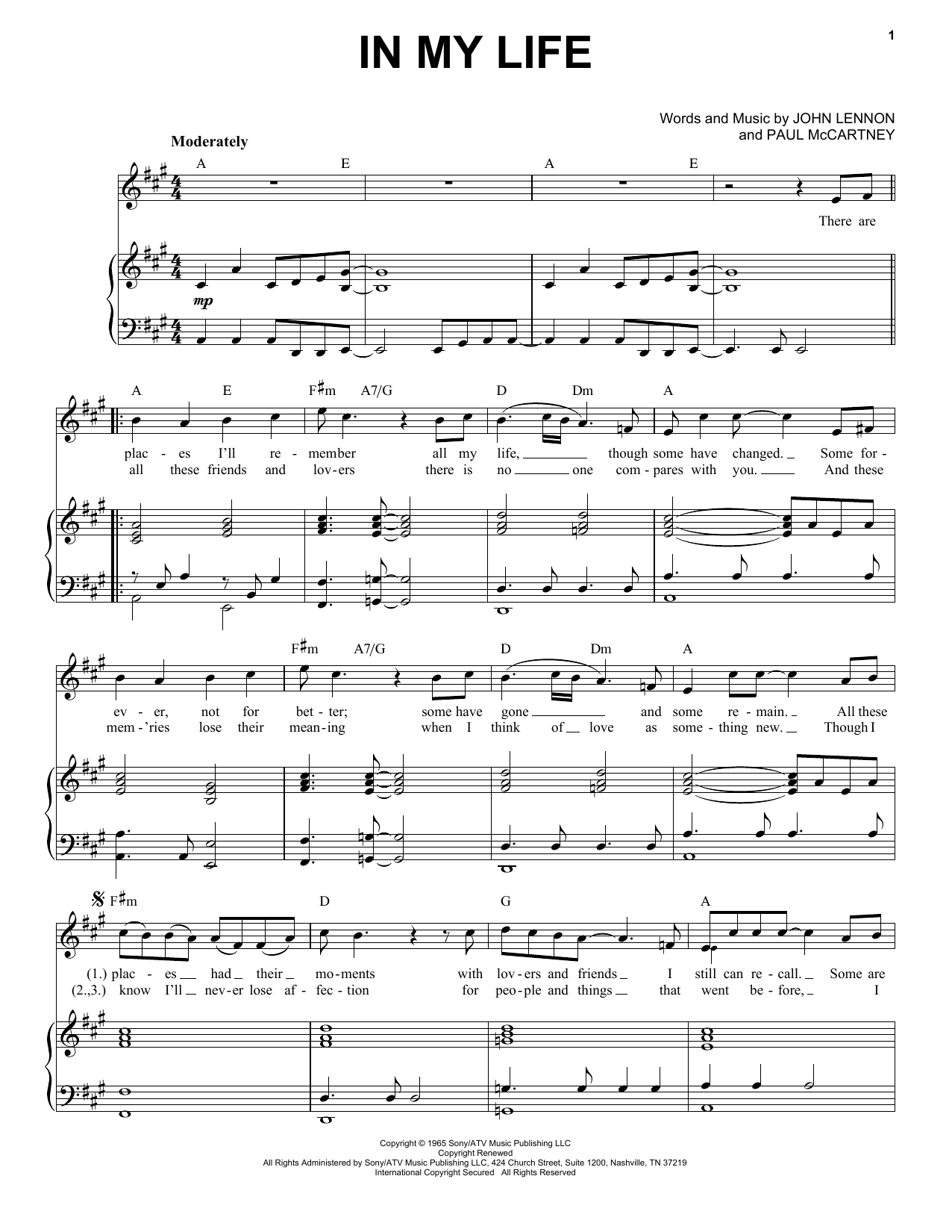 In My Life (Piano & Vocal)