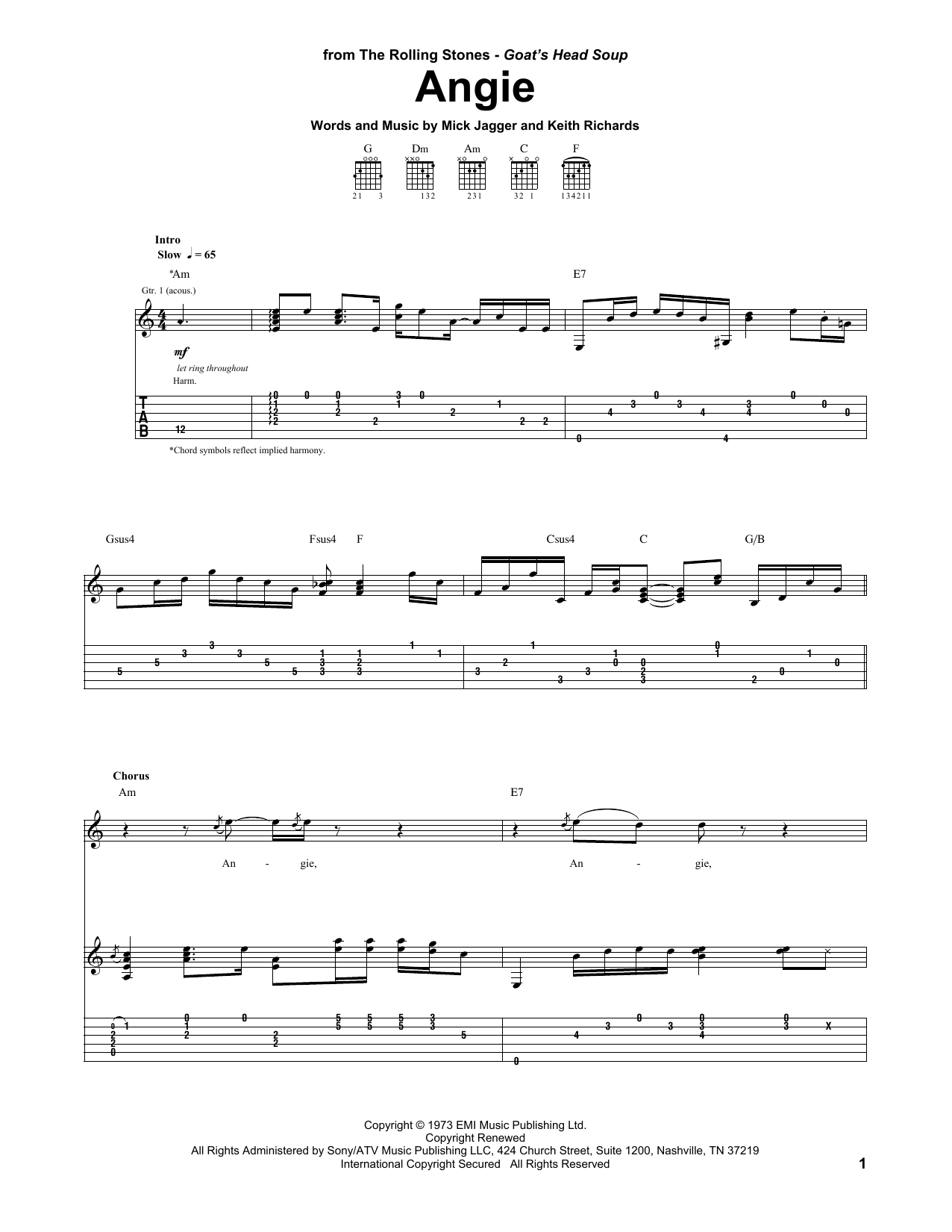 Angie (Guitar Tab)