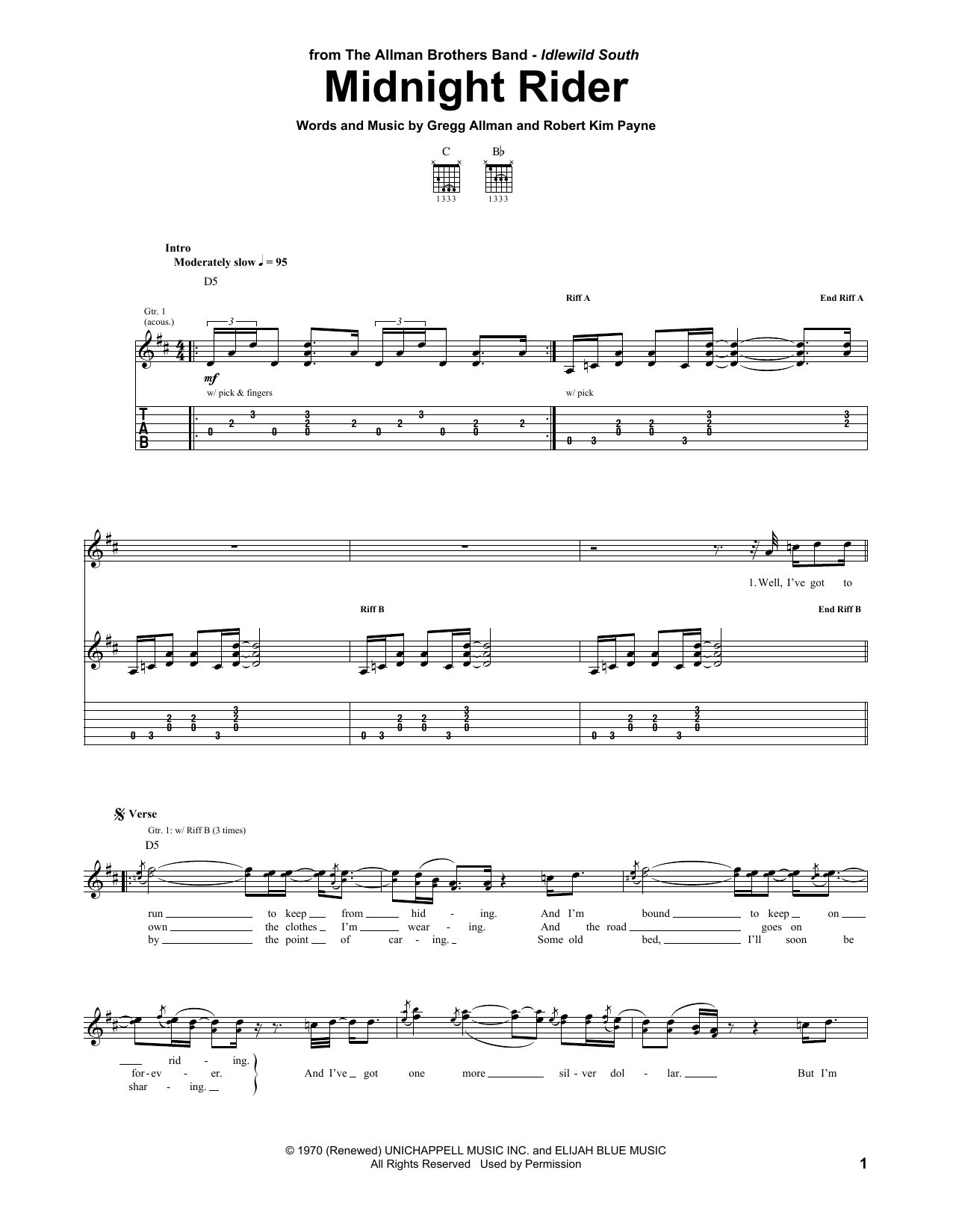 Midnight Rider Sheet Music
