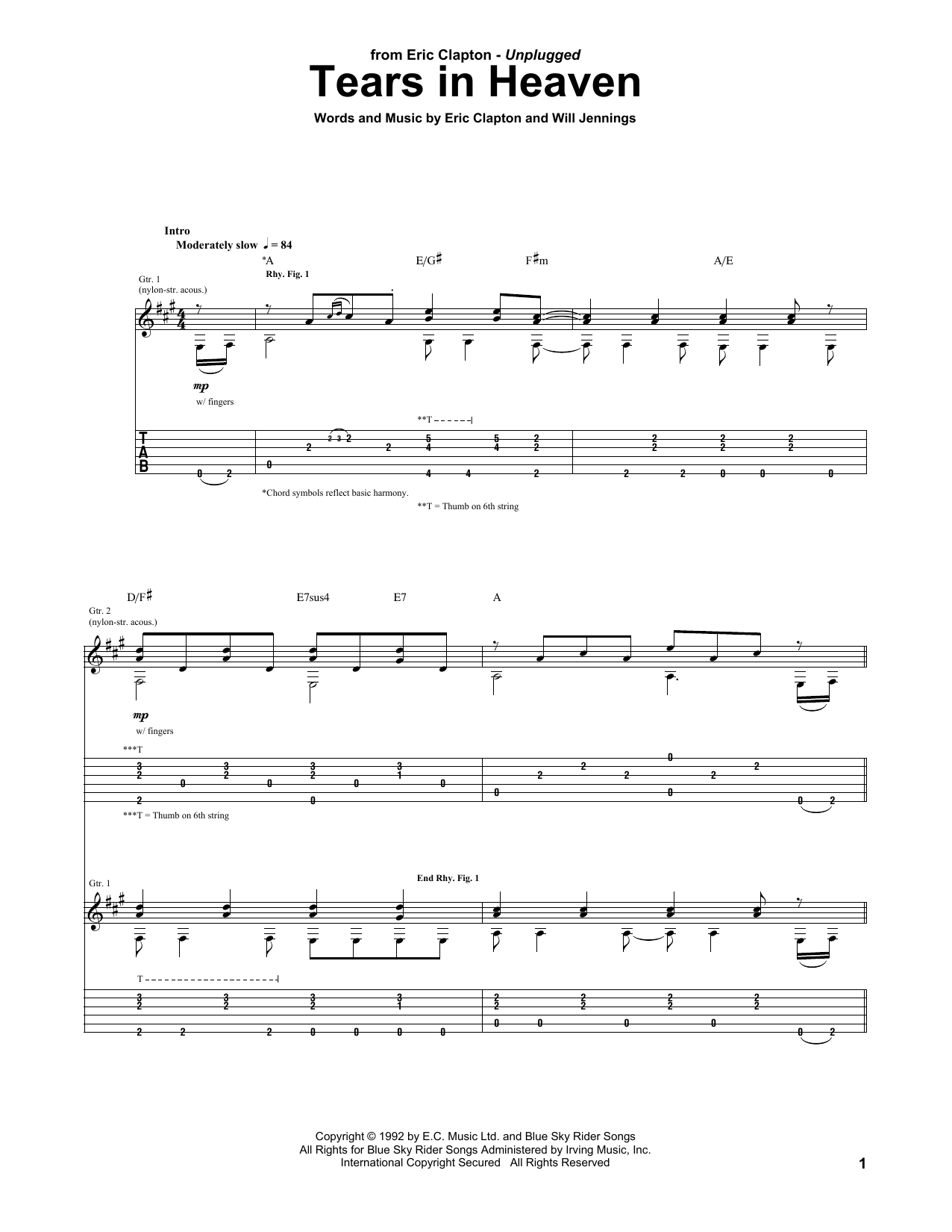 Tears In Heaven (Guitar Tab)
